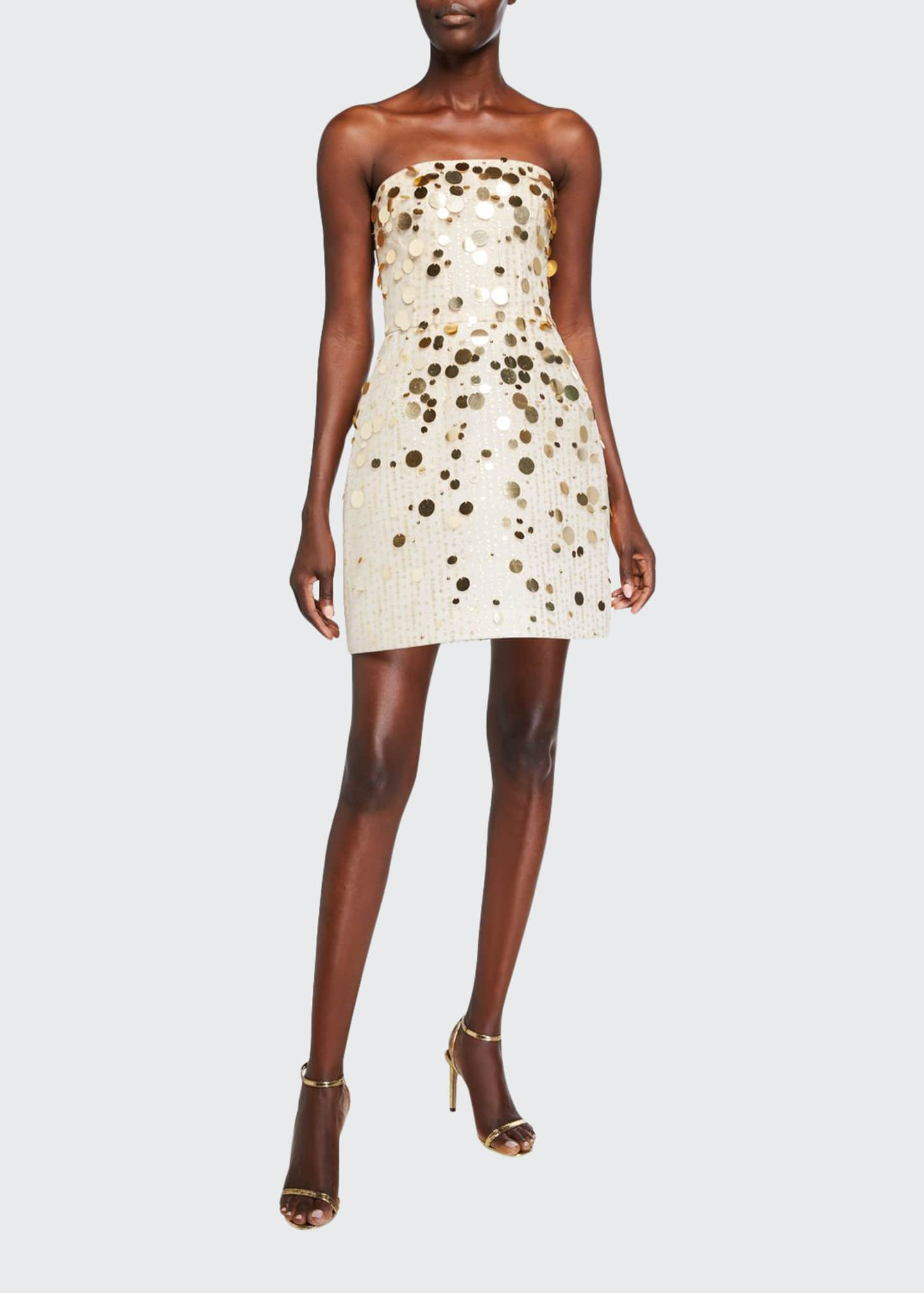 Monique Lhuillier Embroidered Tulle and Lace Strapless Dress