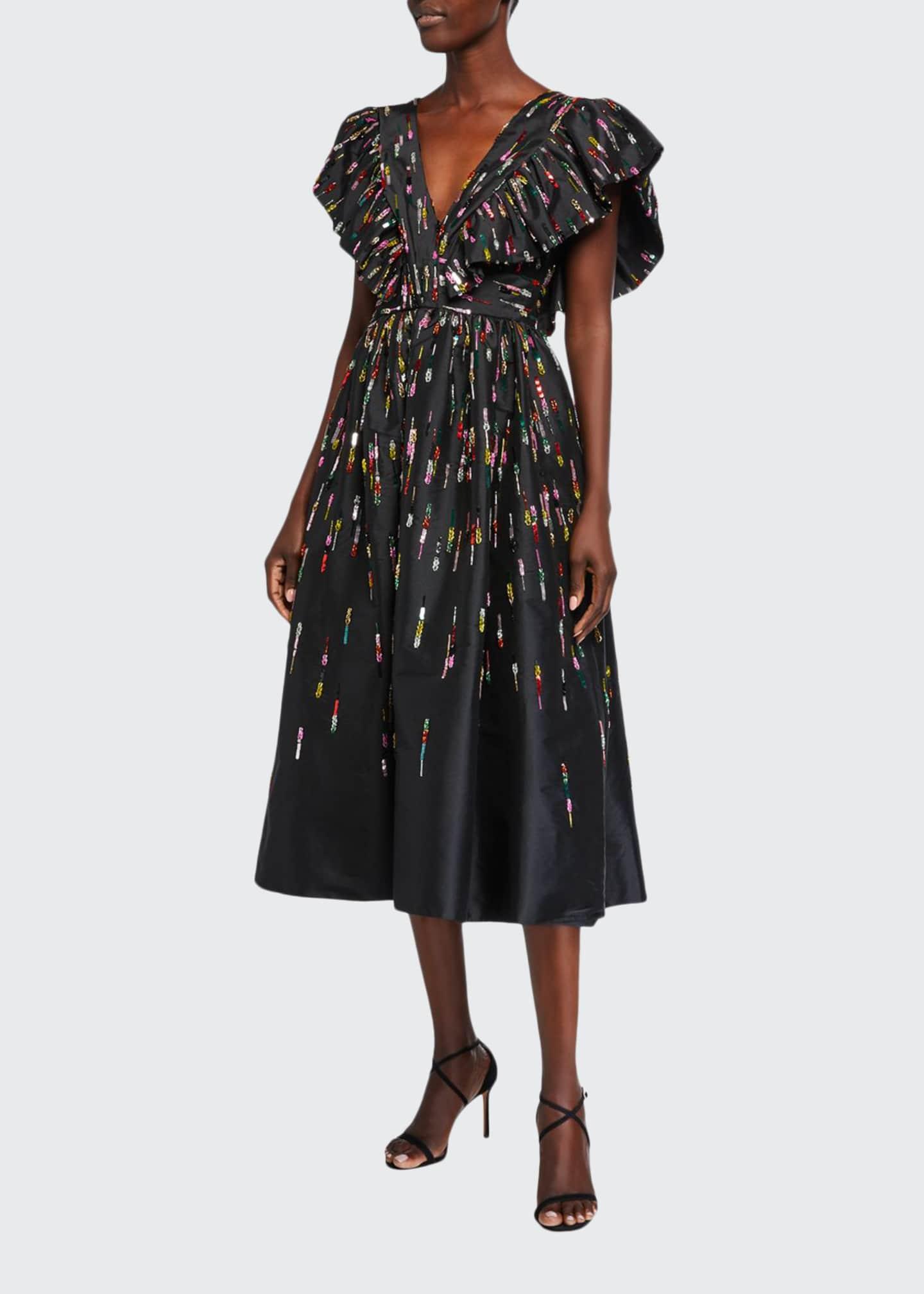 Monique Lhuillier Fluttered V-Neck Midi Dress