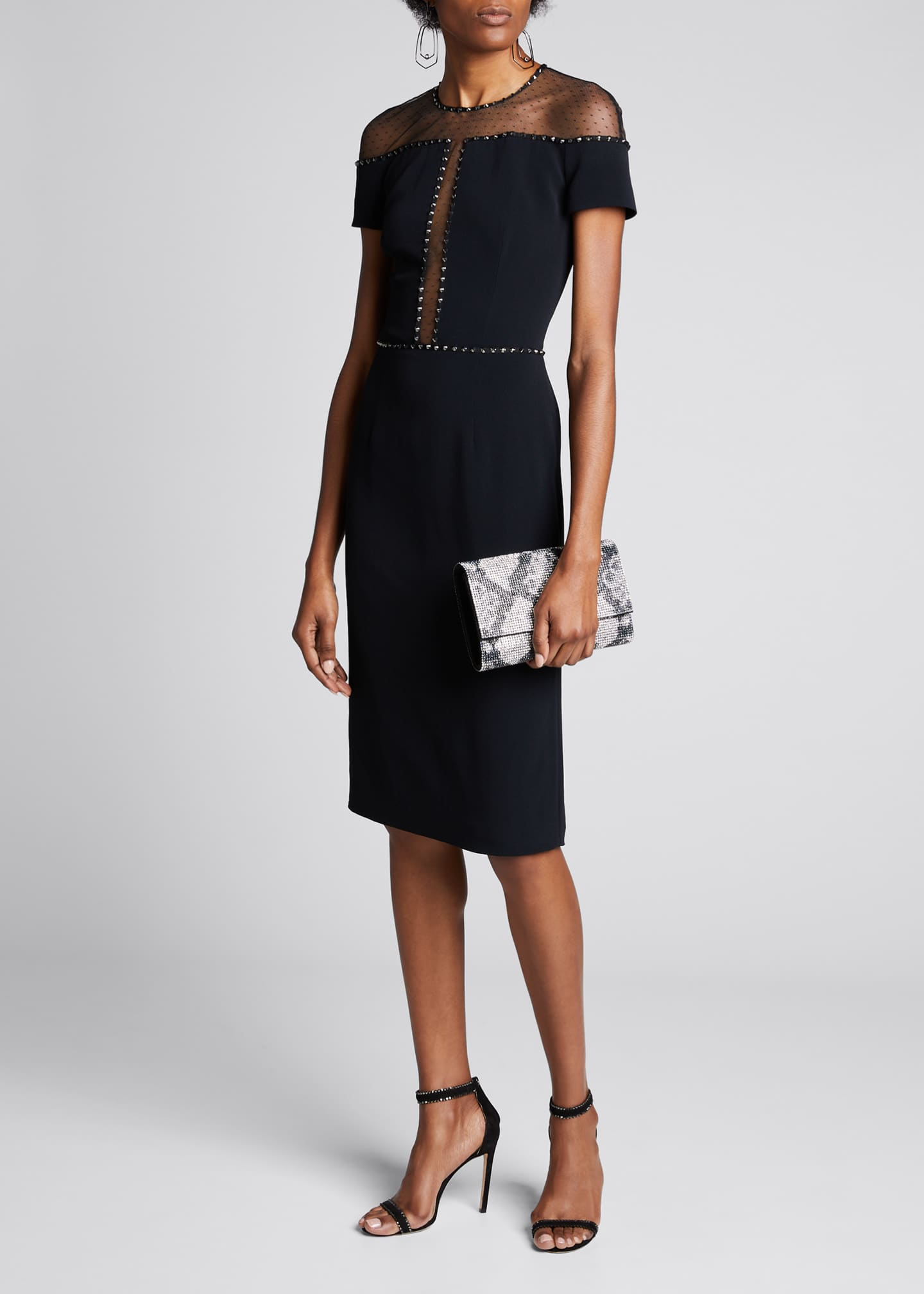 Jenny Packham Cap-Sleeve Mesh Sequined Dress