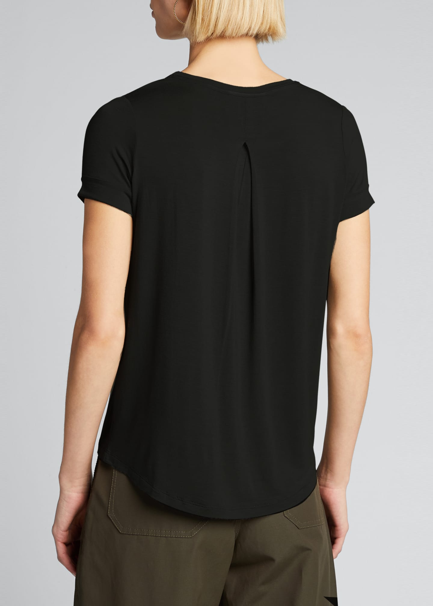 Image 2 of 5: Semi-Relaxed Crewneck T-Shirt with Back Pleat