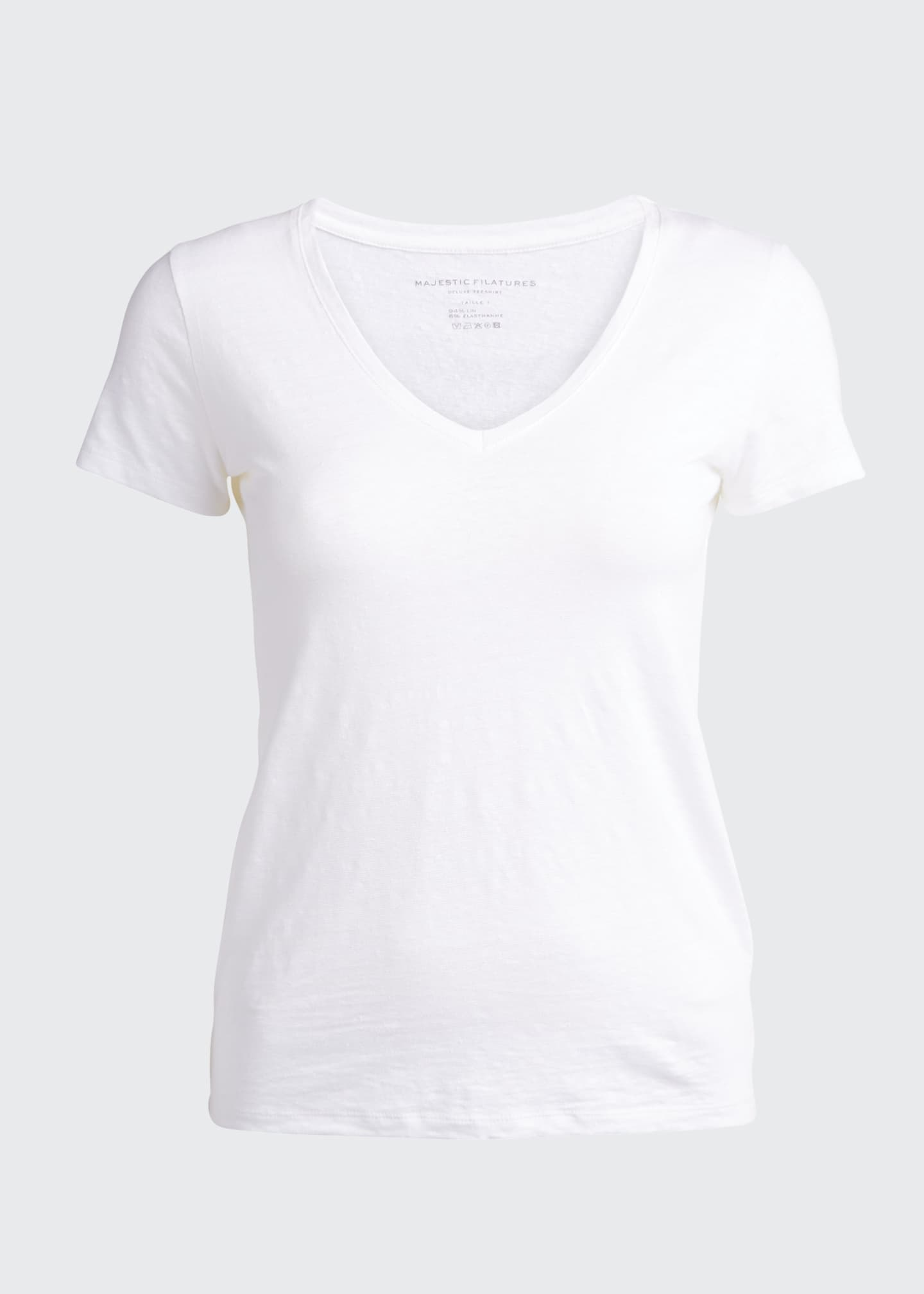 Image 5 of 5: V-Neck Short-Sleeve Stretch Linen T-Shirt