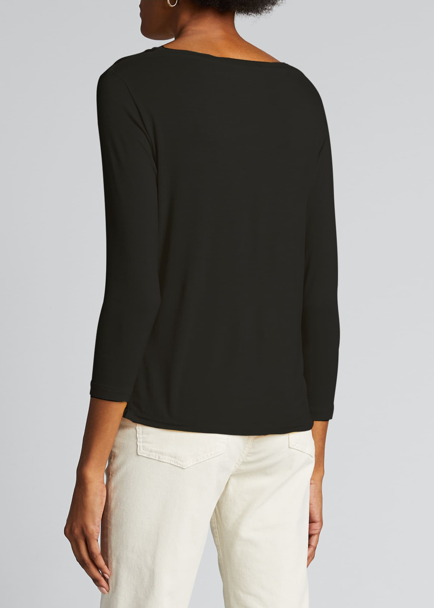 Image 2 of 5: Semi Relaxed 3/4-Sleeve Boat-Neck Top