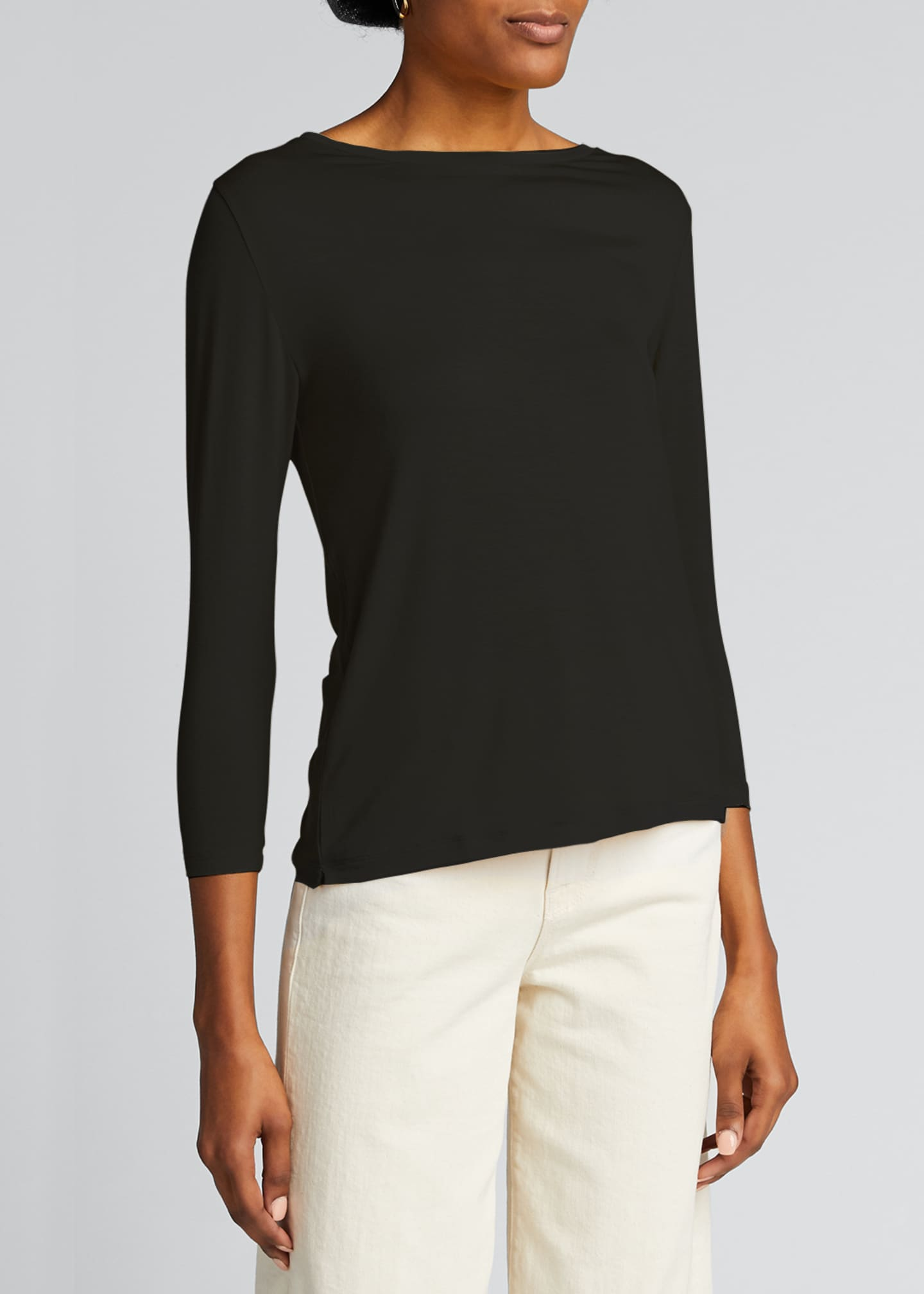 Image 3 of 5: Semi Relaxed 3/4-Sleeve Boat-Neck Top
