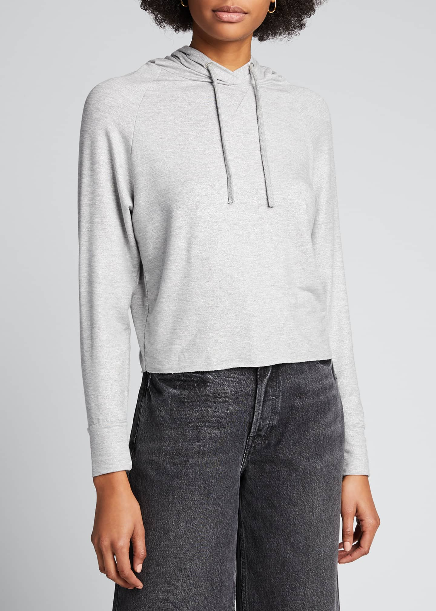 Image 3 of 5: French Terry Metallic Cropped Hoodie