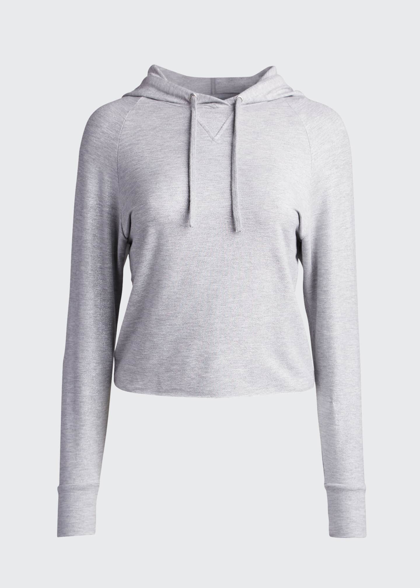 Image 5 of 5: French Terry Metallic Cropped Hoodie