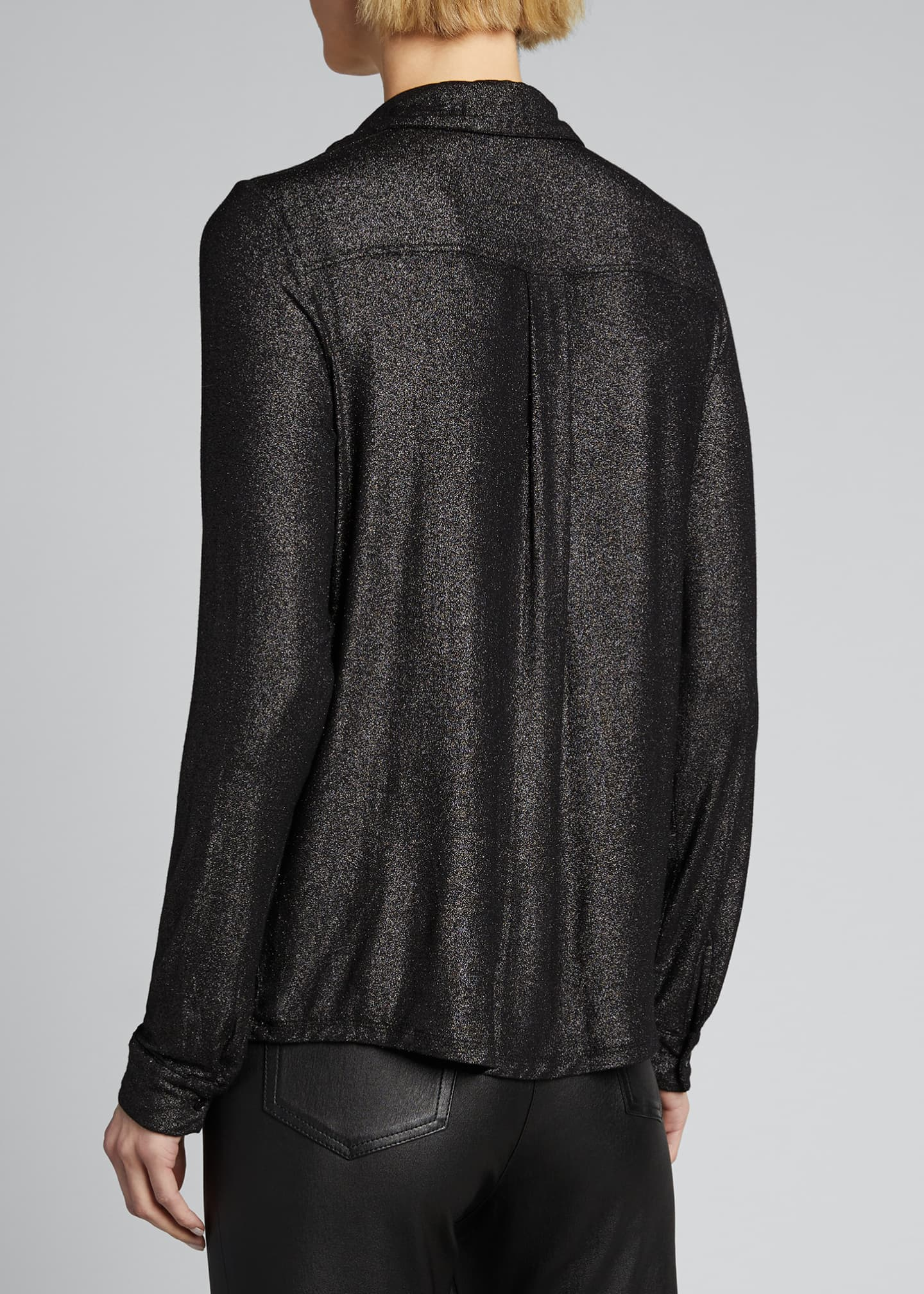 Image 2 of 4: Soft Touch Metallic Long-Sleeve Pleated Back Shirt