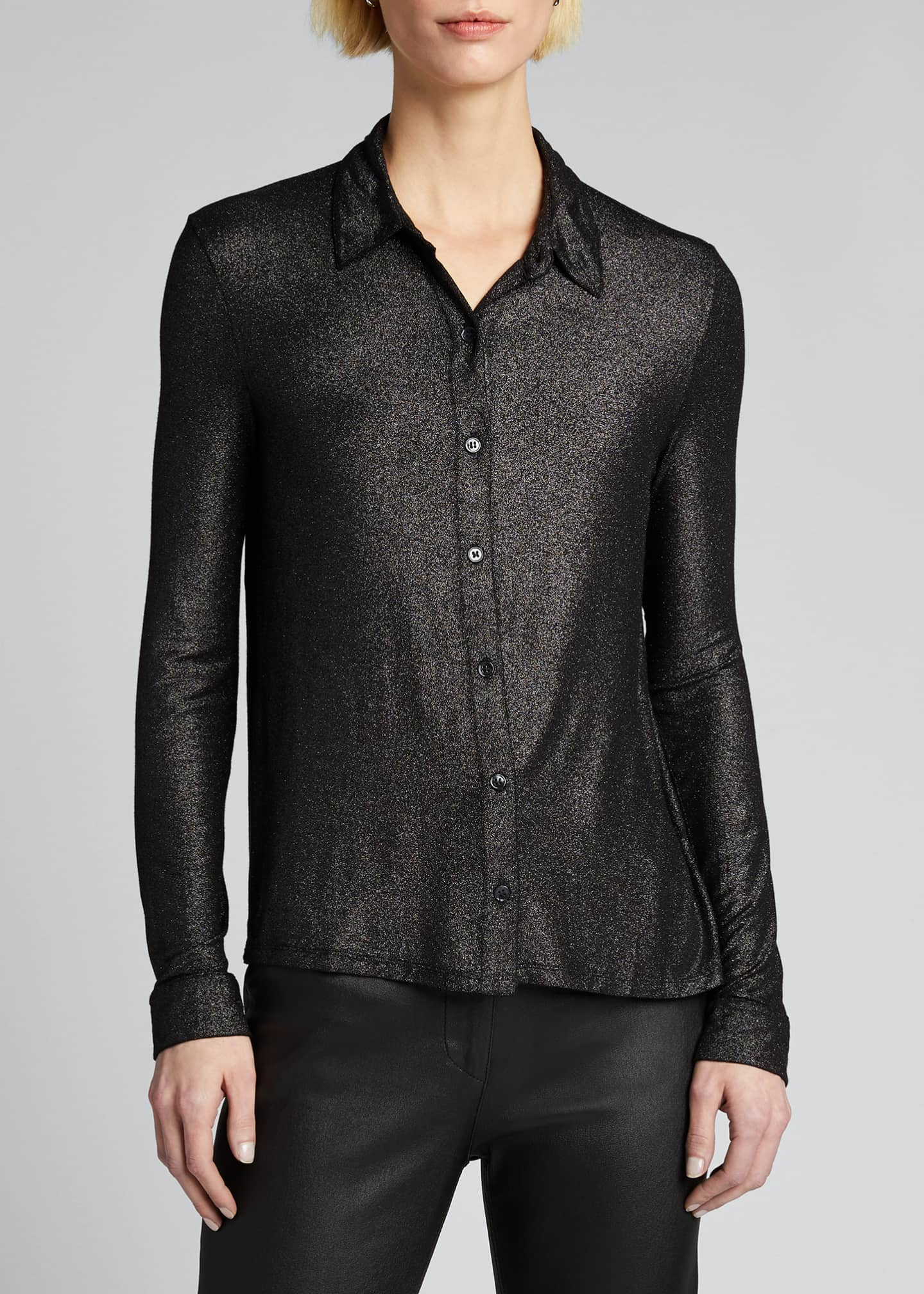 Image 3 of 4: Soft Touch Metallic Long-Sleeve Pleated Back Shirt