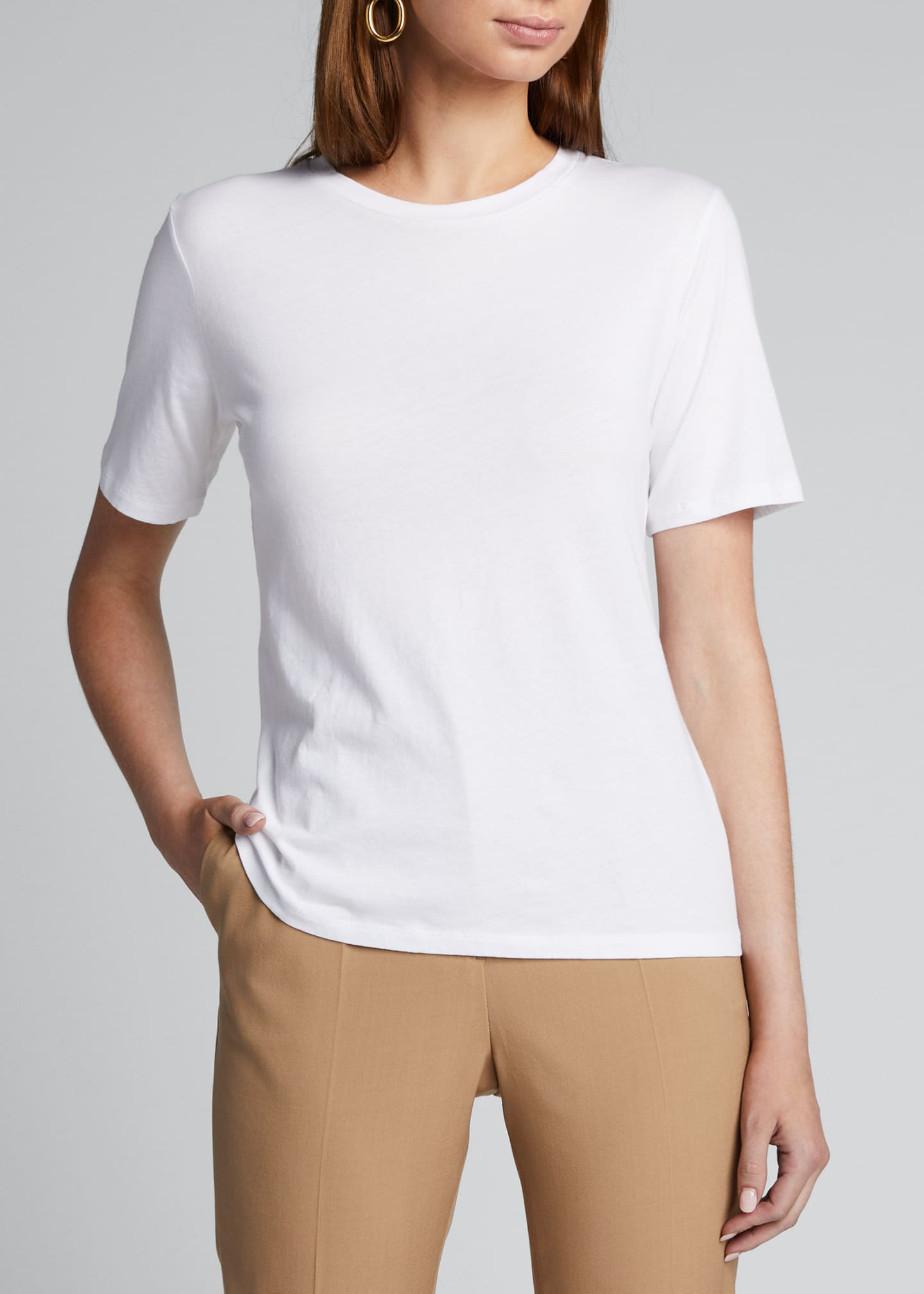 Image 3 of 5: Crewneck Short-Sleeve Cotton Silk Touch T-Shirt