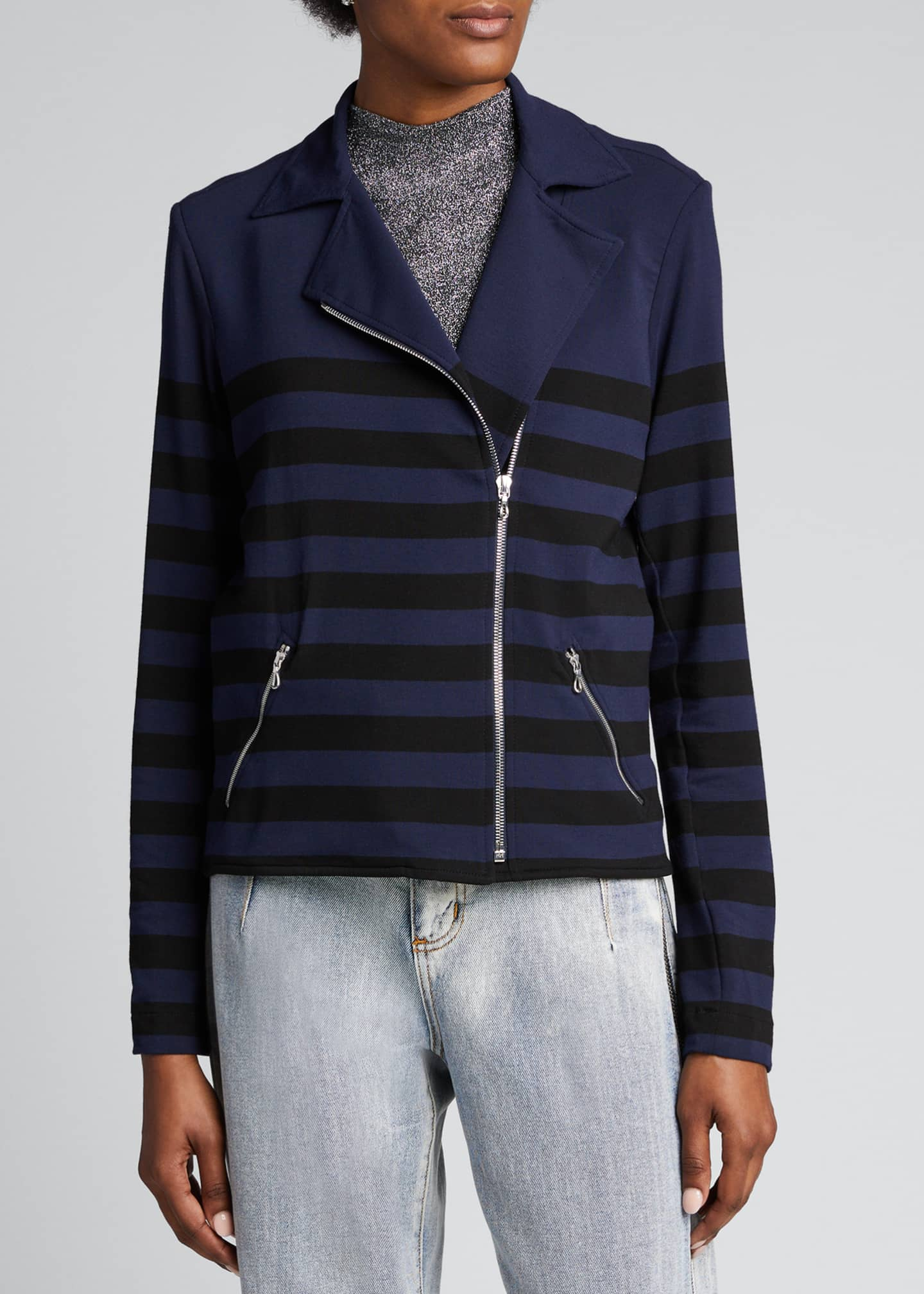 Image 3 of 5: Striped French Terry Moto Jacket