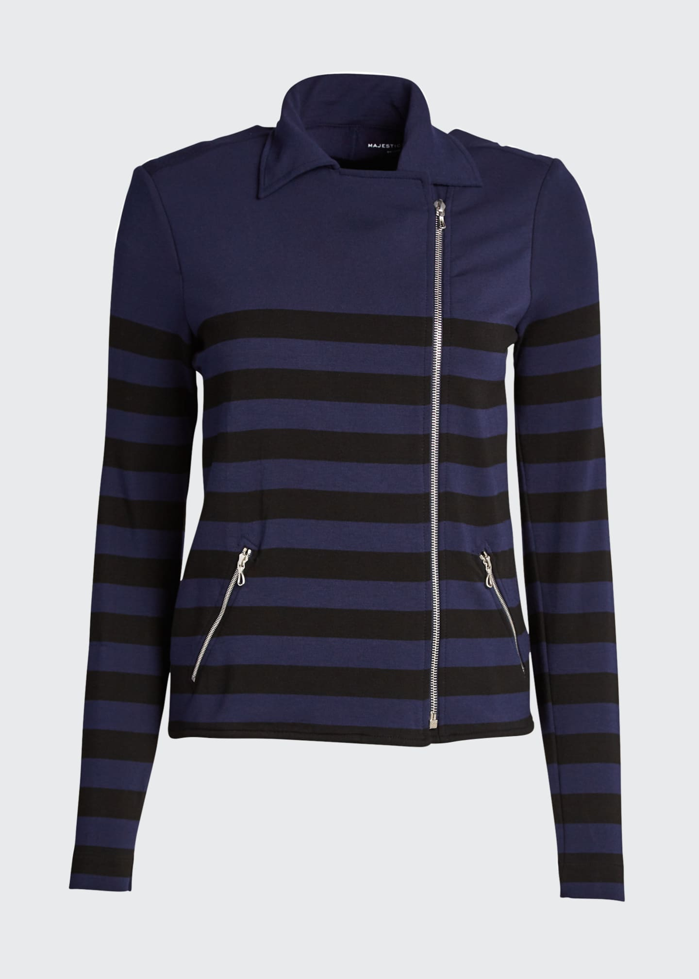 Image 5 of 5: Striped French Terry Moto Jacket
