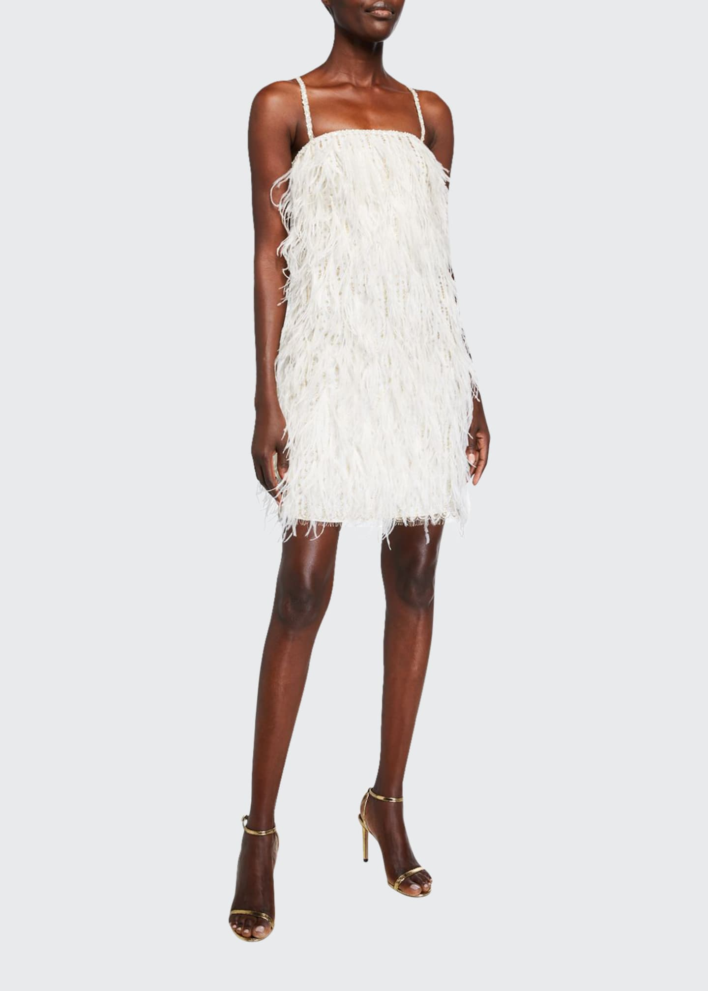 Monique Lhuillier Feathered Mini Shift Dress