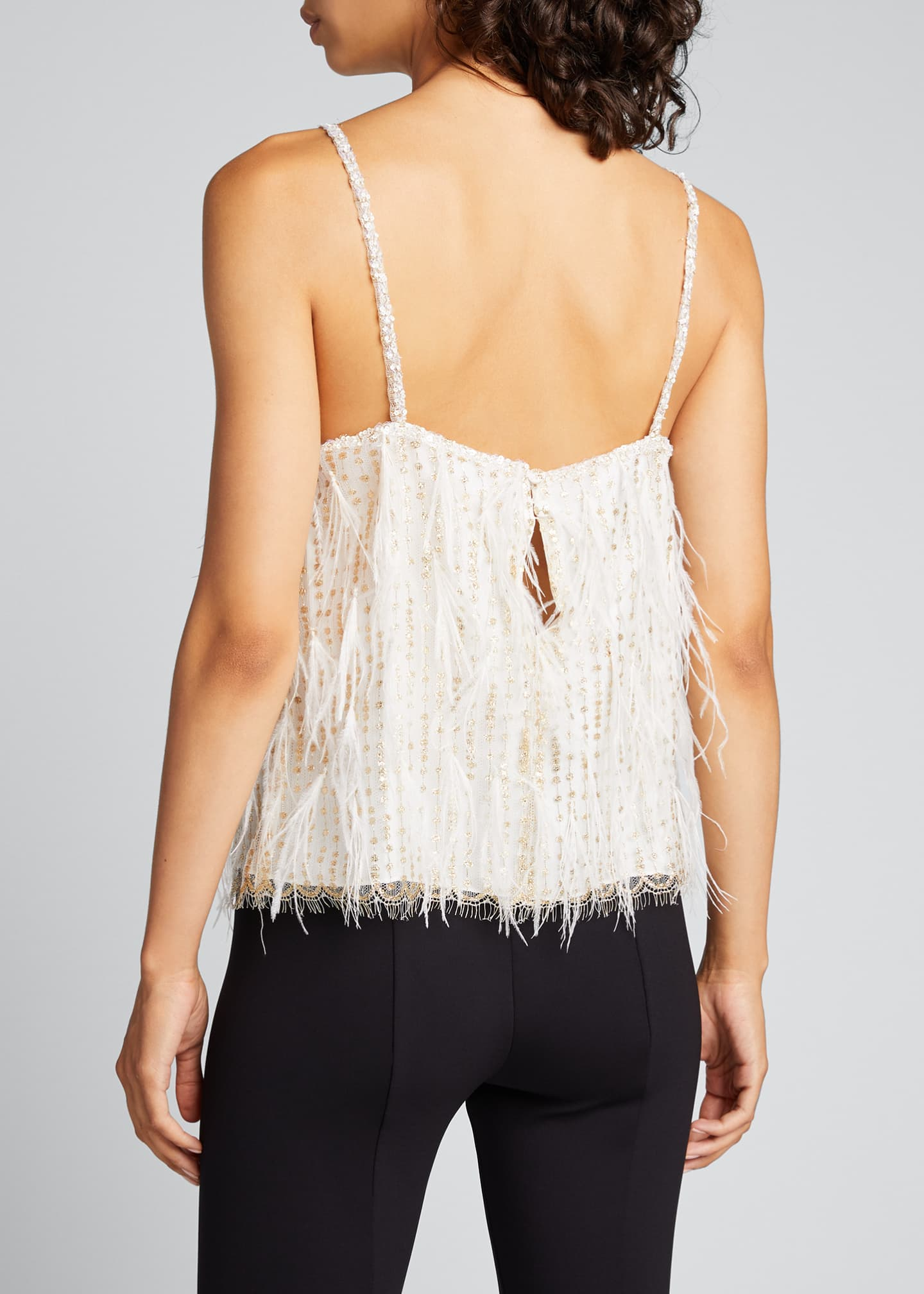 Image 2 of 2: Feather-Embroidered Lace Camisole