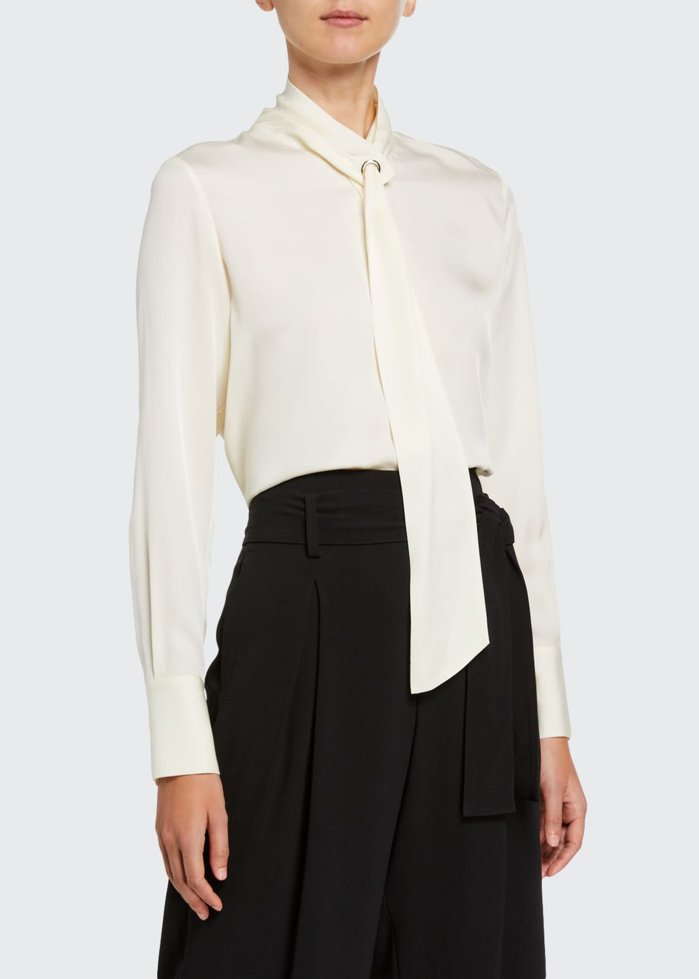 Jason Wu Tie-Neck Long-Sleeve Silk Blouse