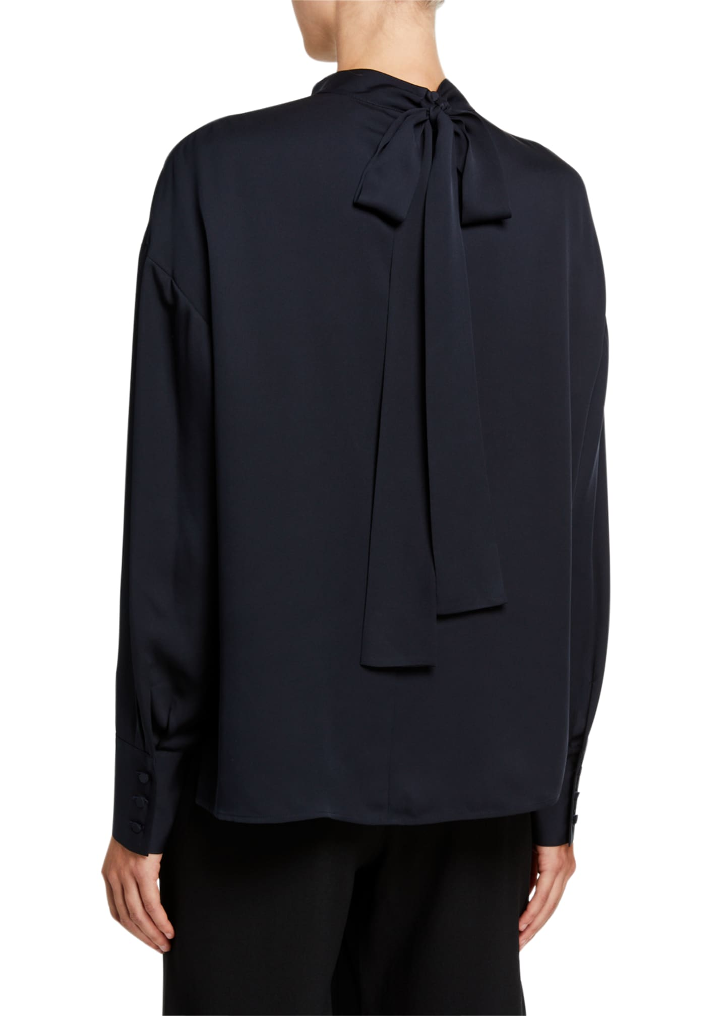 Image 3 of 3: Mock-Neck Long-Sleeve Silk Tie Blouse