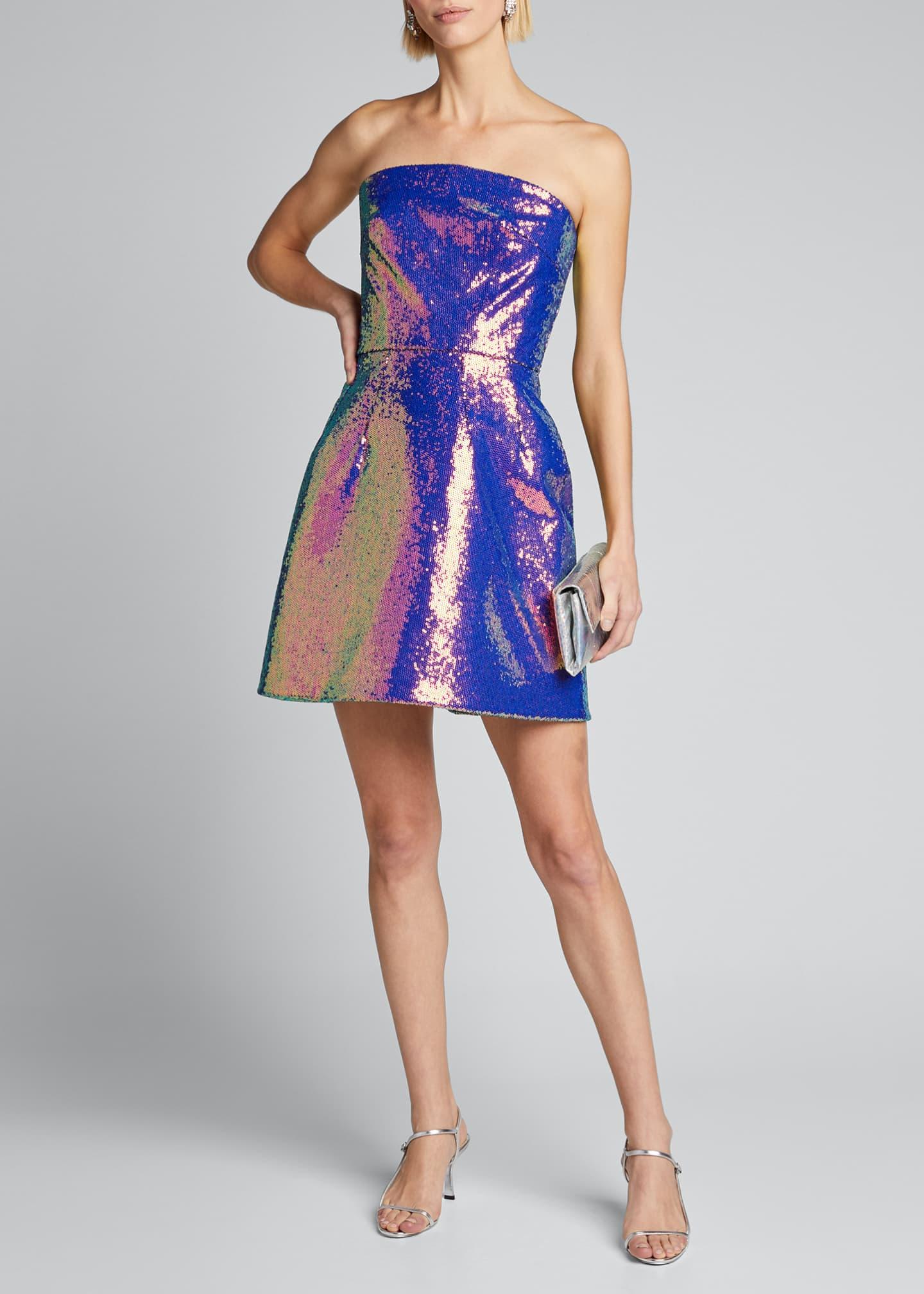 Monique Lhuillier Iridescent Sequined Fit-&-Flare Party Dress