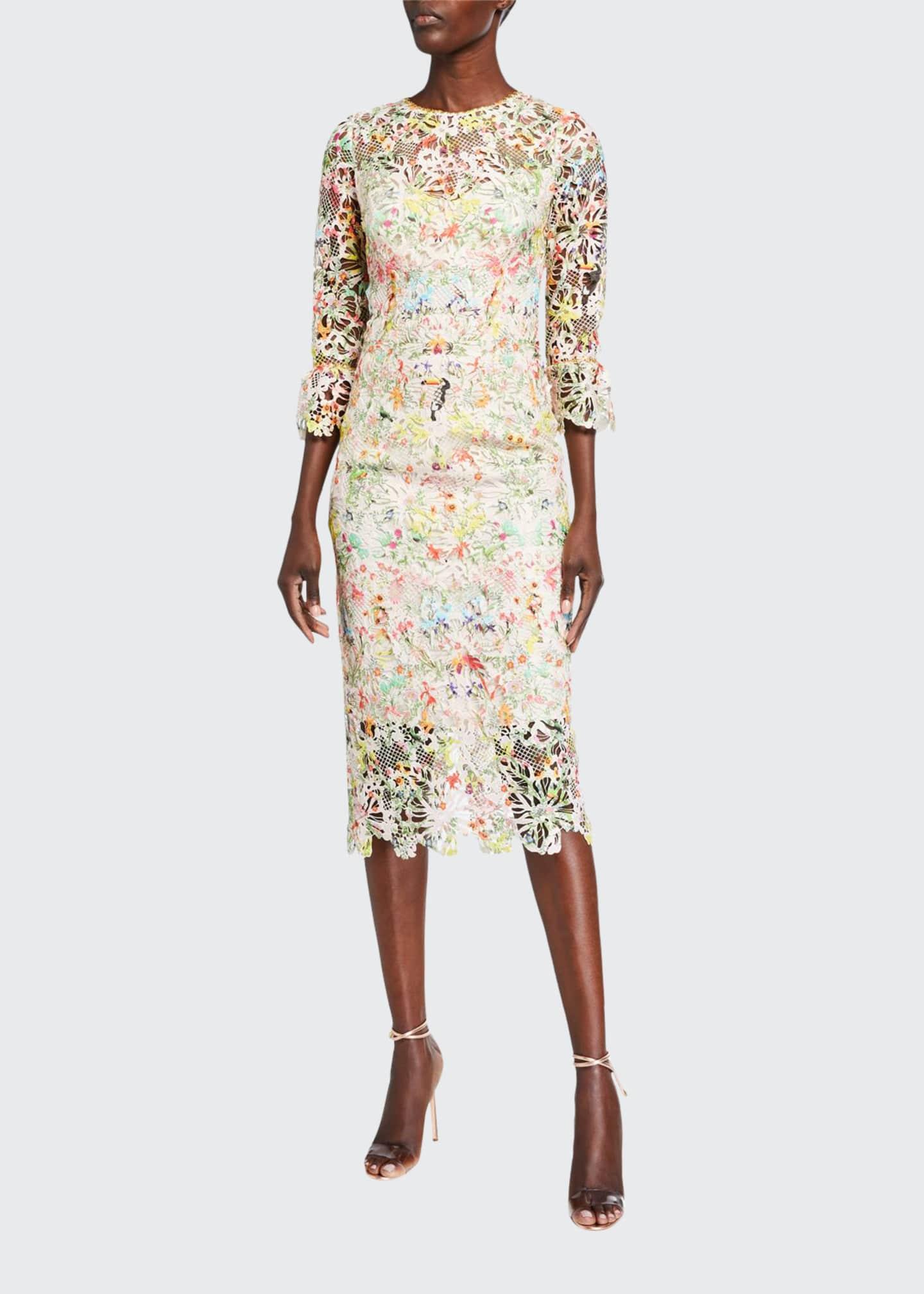 Monique Lhuillier Paradise-Print 3/4-Sleeve Dress