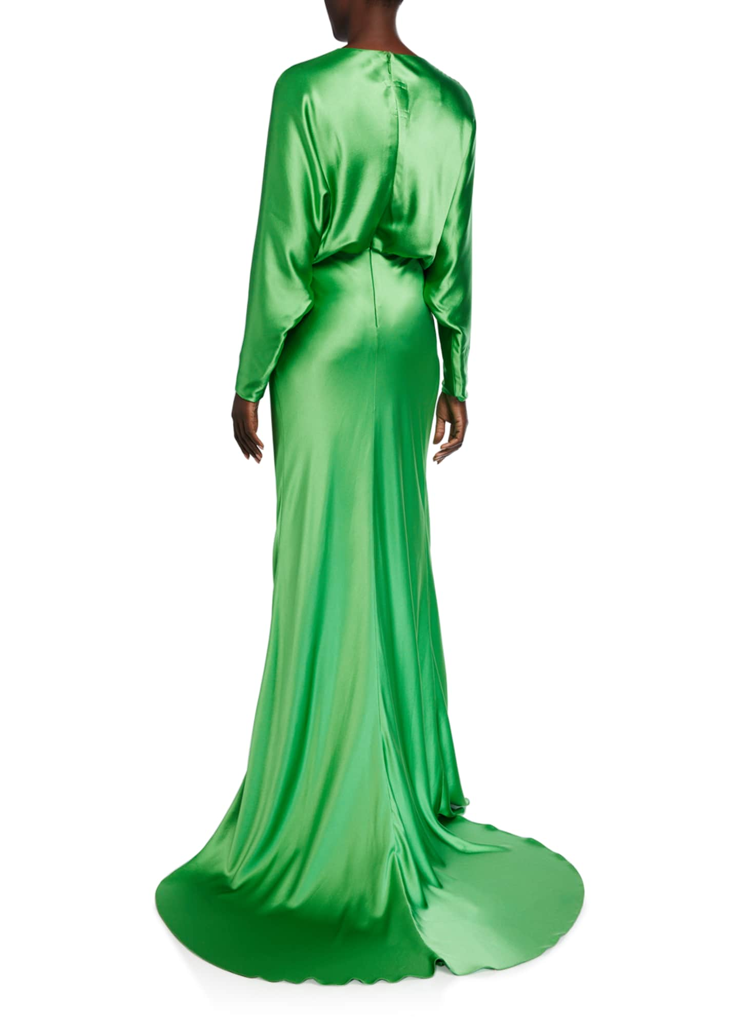Image 2 of 2: Crepe-Back Satin Draped Dolman Sleeve Gown