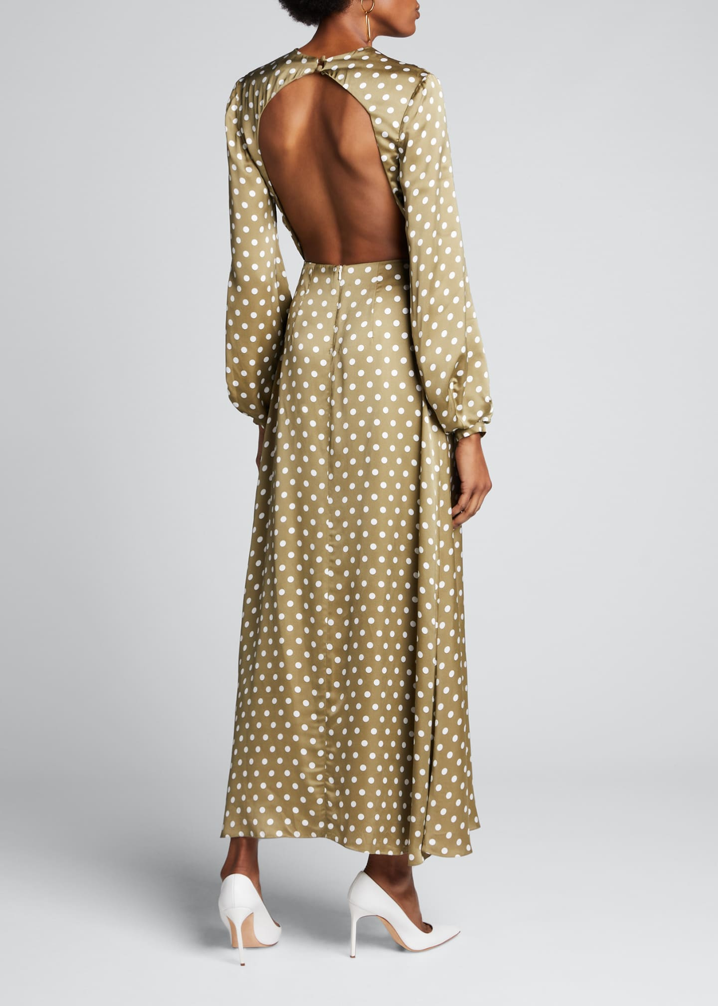 Image 2 of 5: Polka-Dotted Open Back Dress