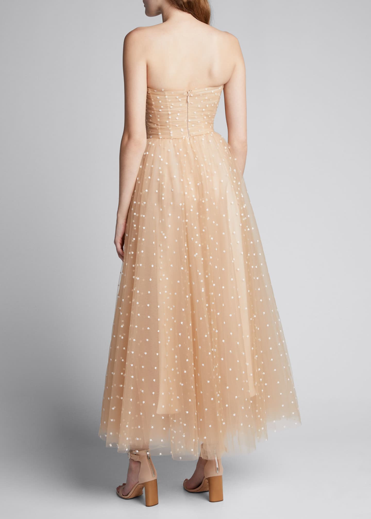 Image 2 of 5: Polka Dot Tulle Strapless Tea-Length Dress