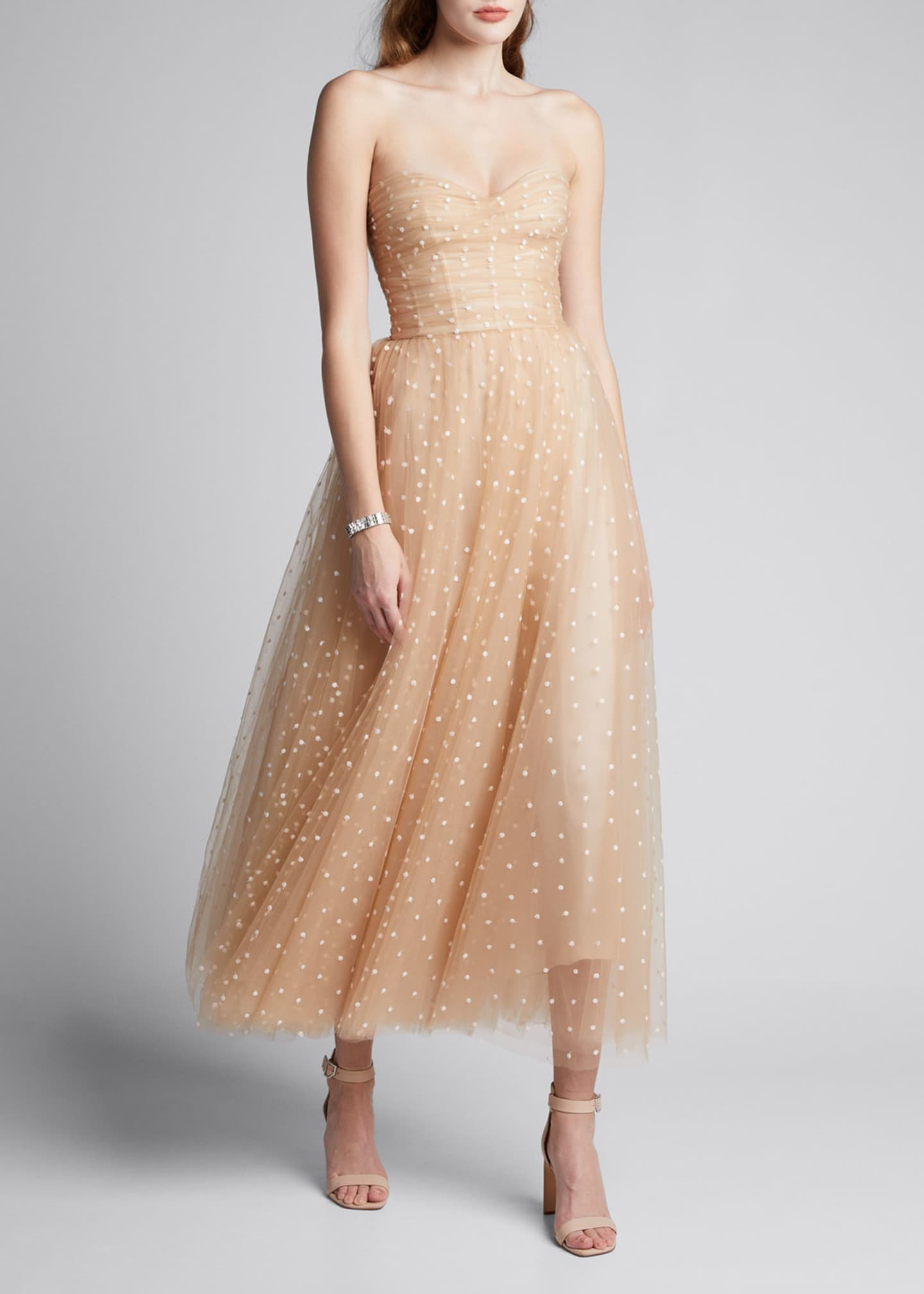 Image 3 of 5: Polka Dot Tulle Strapless Tea-Length Dress