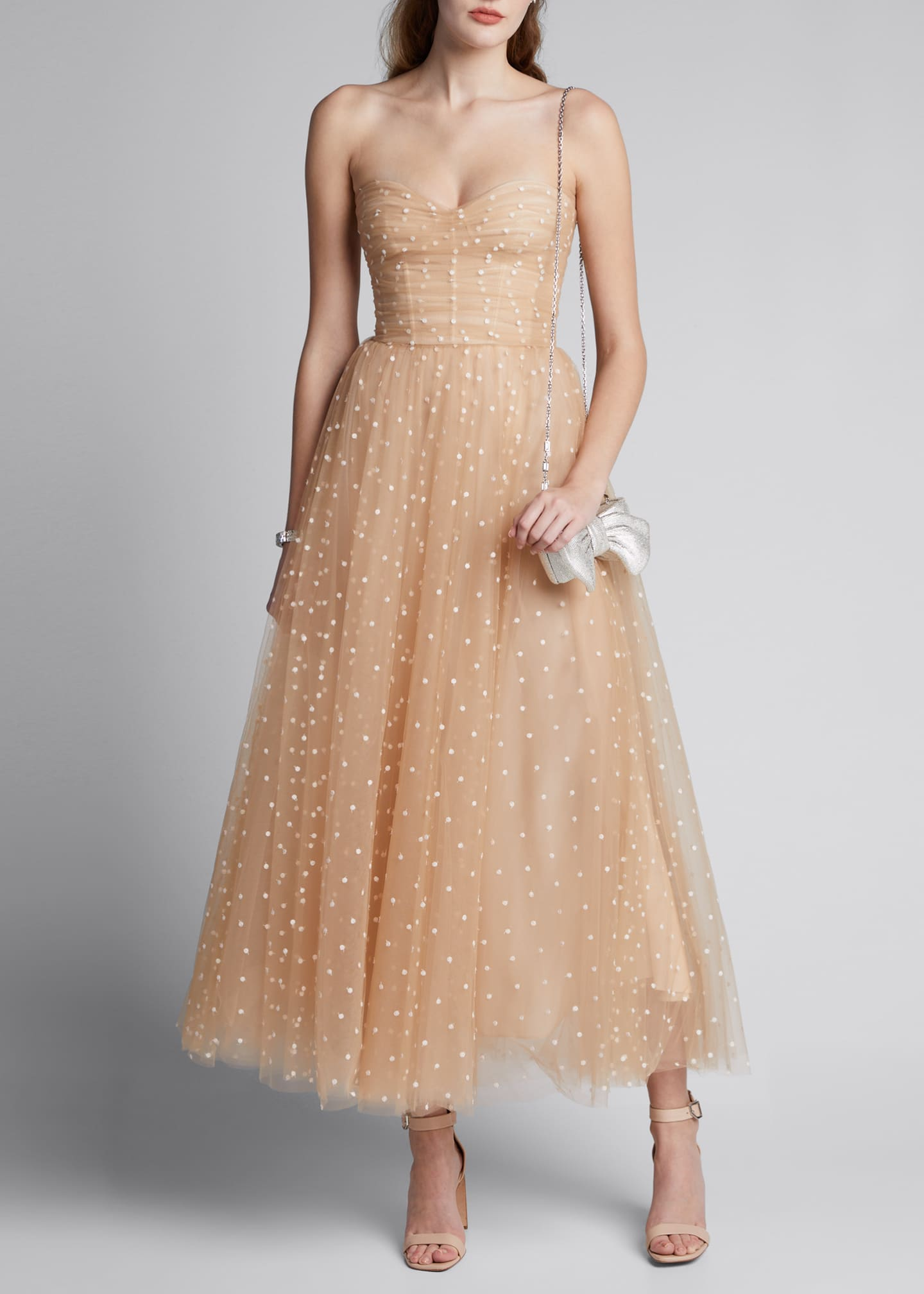 Image 1 of 5: Polka Dot Tulle Strapless Tea-Length Dress