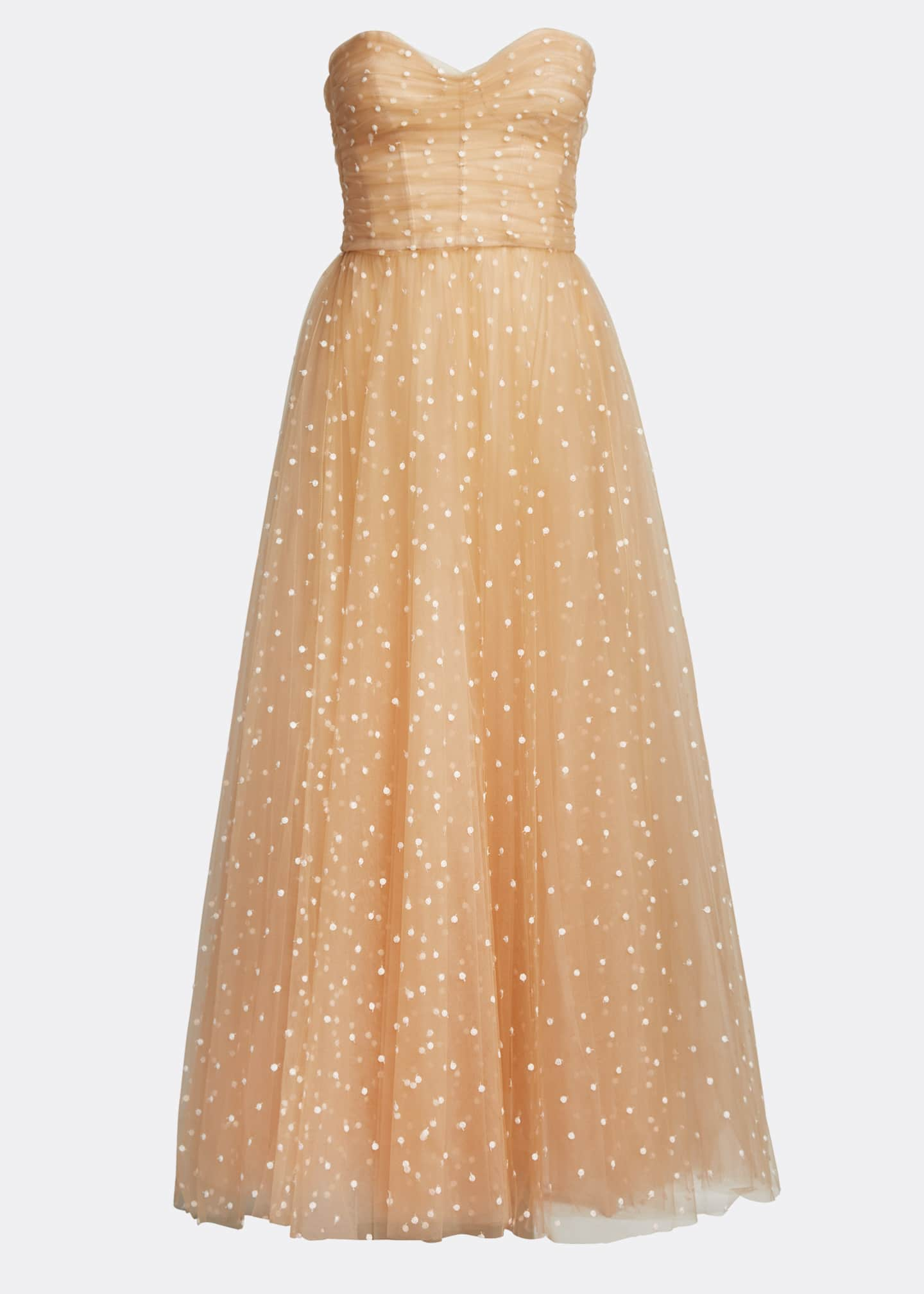 Image 5 of 5: Polka Dot Tulle Strapless Tea-Length Dress