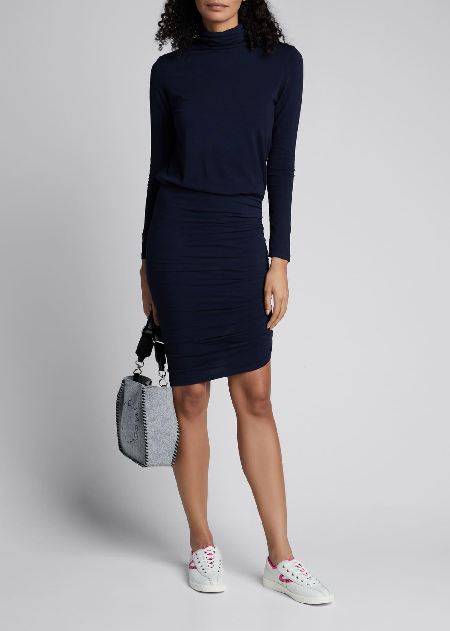 Sundry Turtleneck Long-Sleeve Blouson Dress