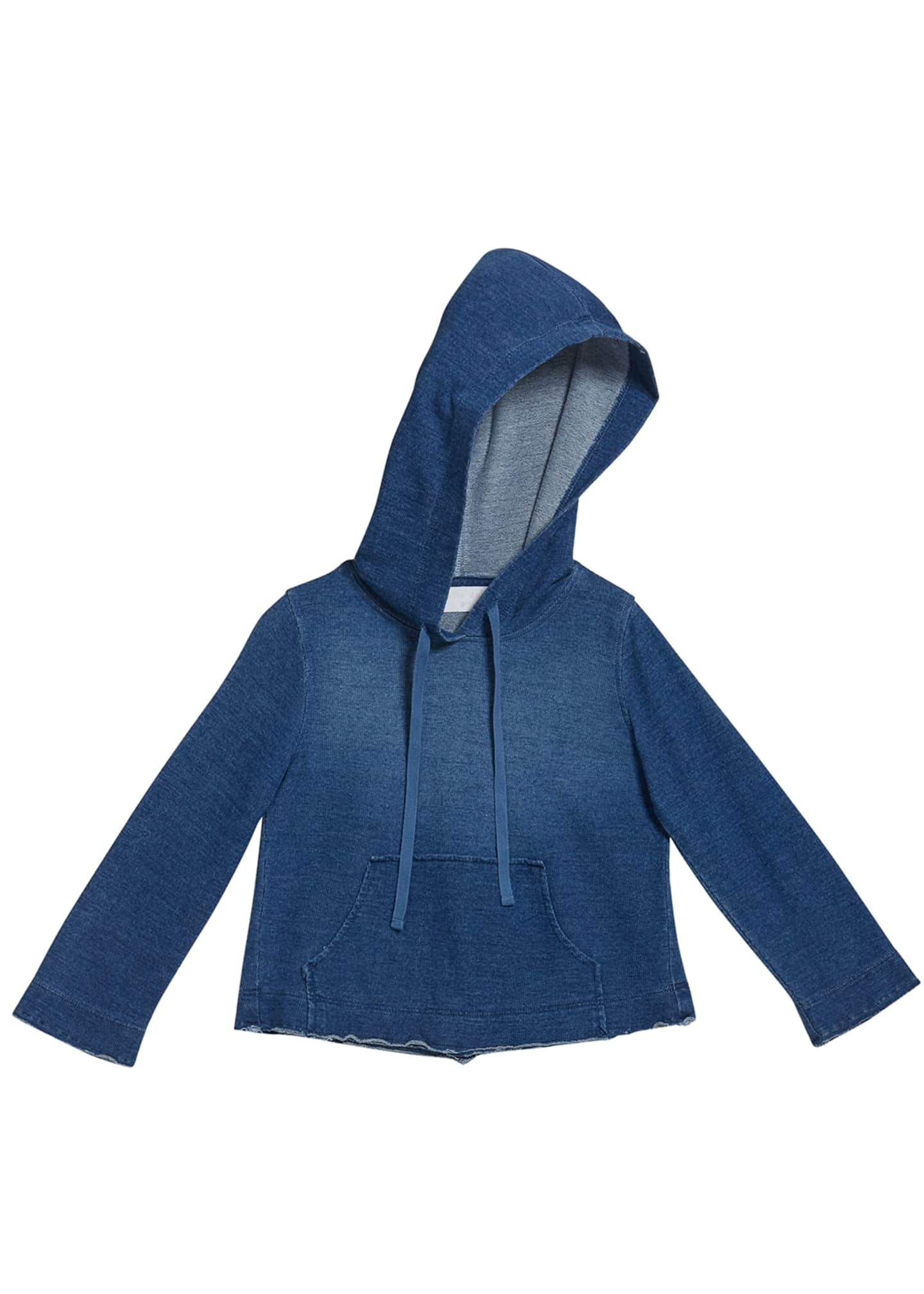 Image 1 of 1: Girl's Cropped Frayed Hoodie Sweatshirt, Size 8-14