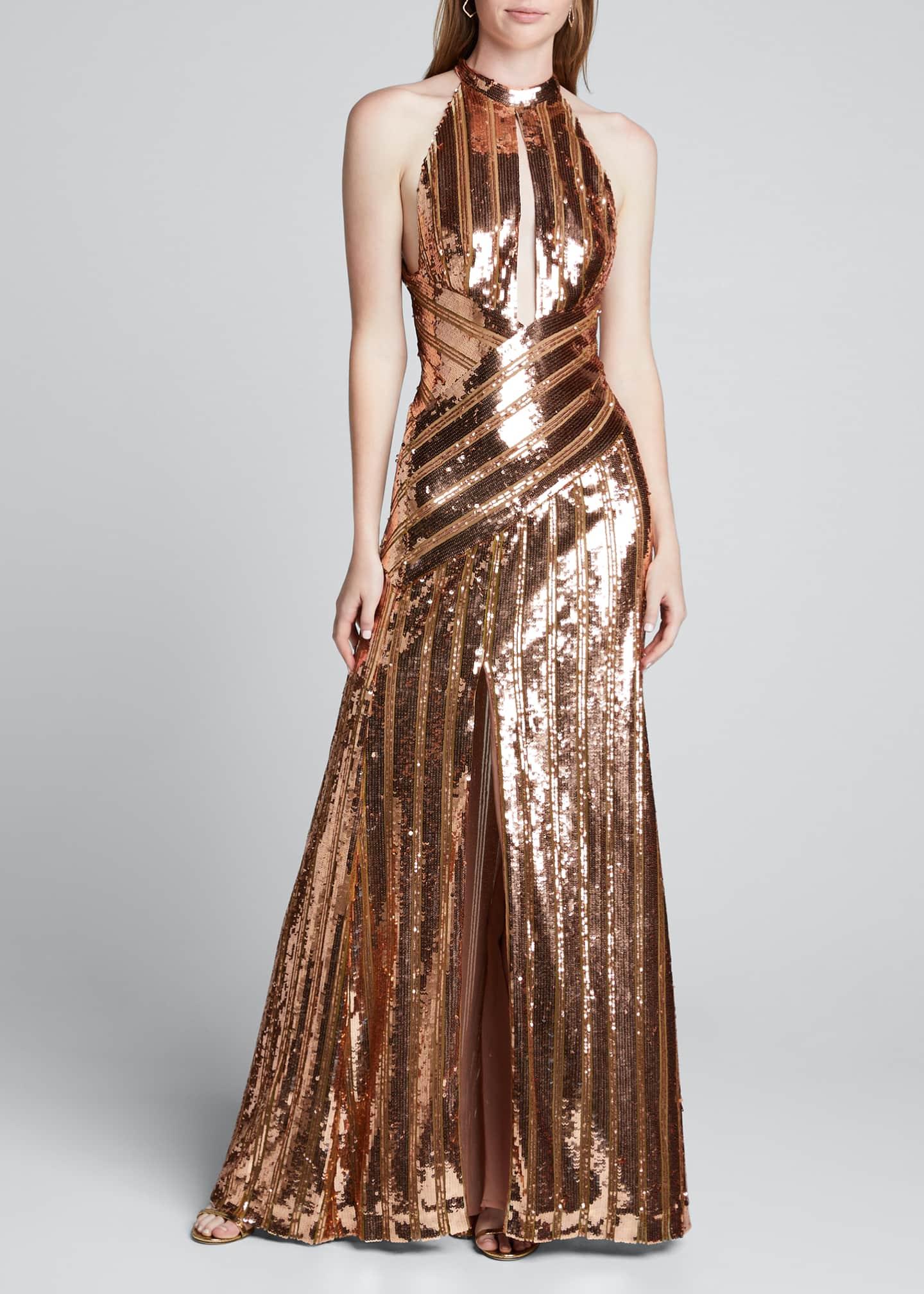 Galvan Mirror-Sequined Halter-Neck Gown