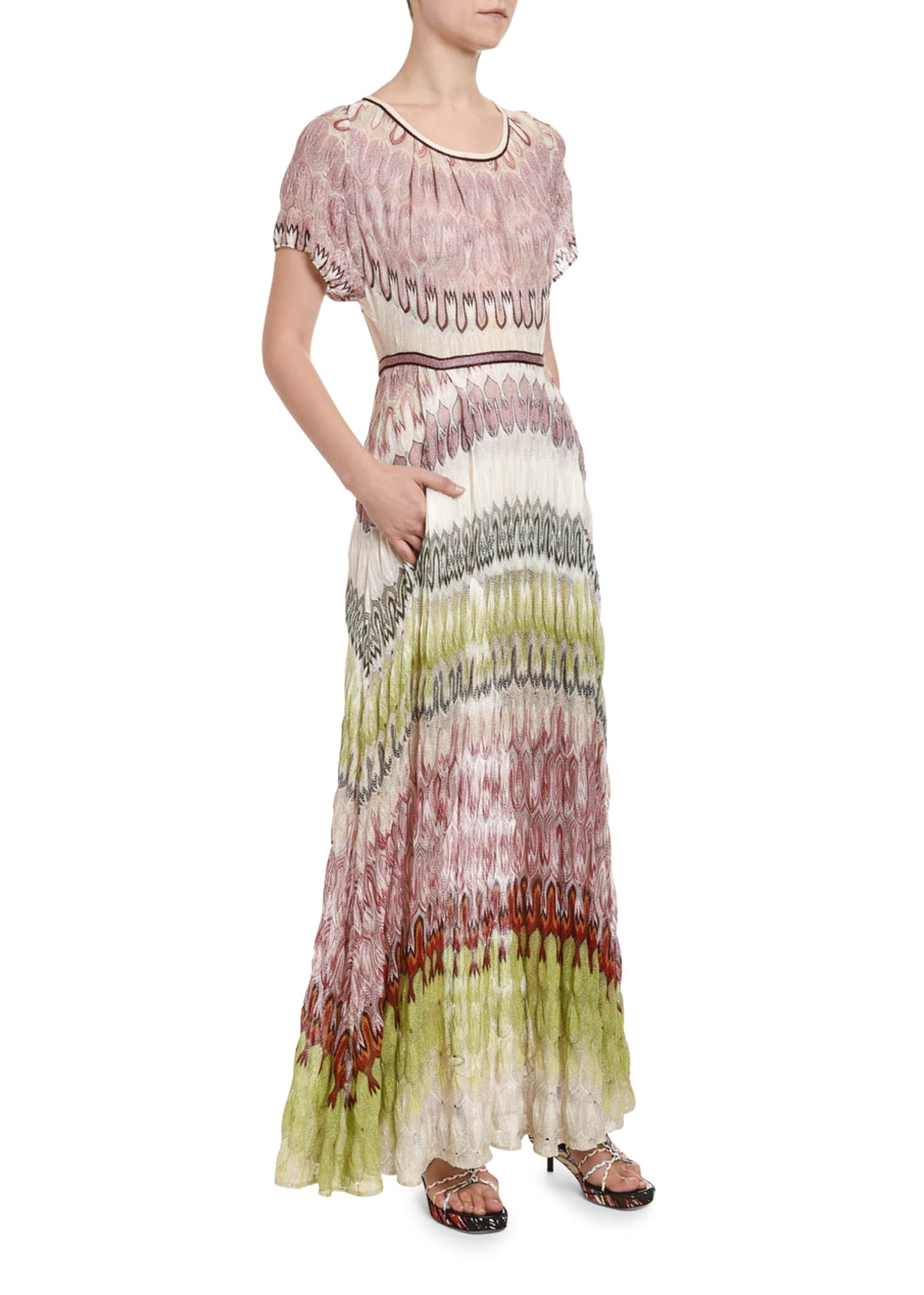 Image 3 of 3: Colorblocked Short-Sleeve Maxi Dress