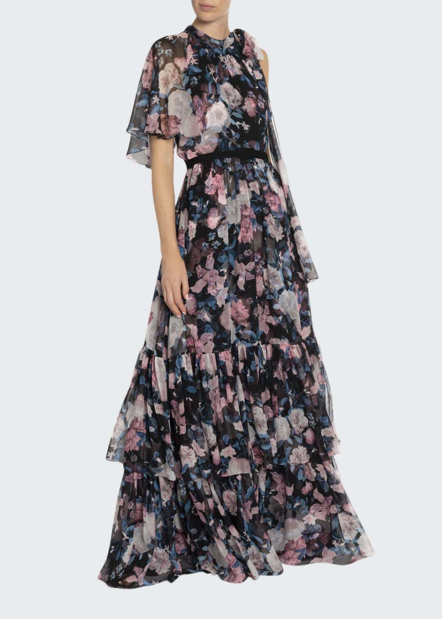 Erdem Natalina Bouquet Georgette Tiered Gown
