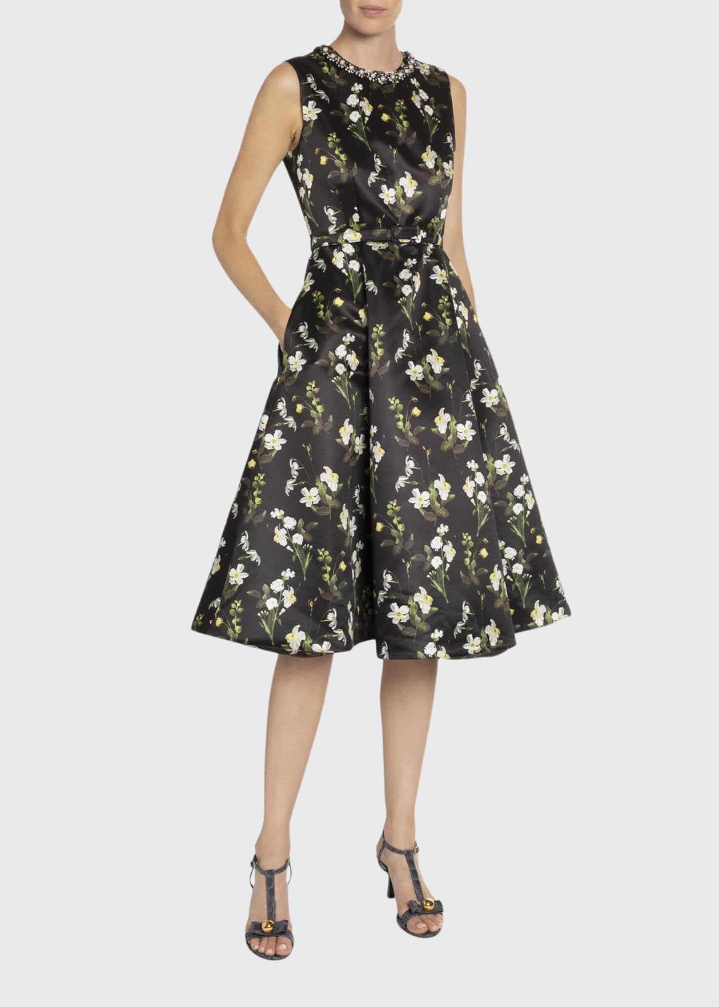 Erdem Daffodil Satin Fit-&-Flare Dress