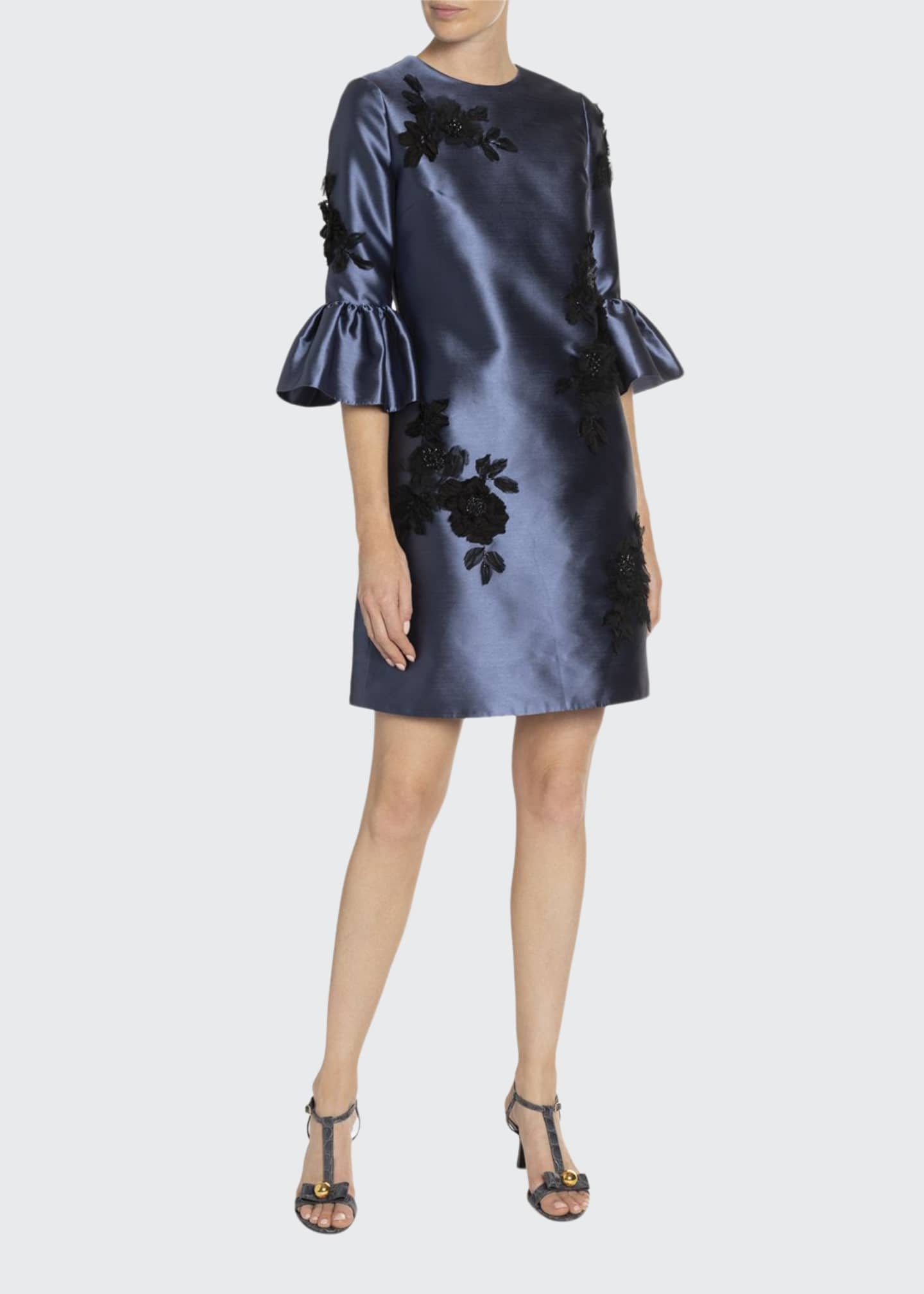 Erdem Elijah Rose-Embroidered Bell-Sleeve Taffeta Dress