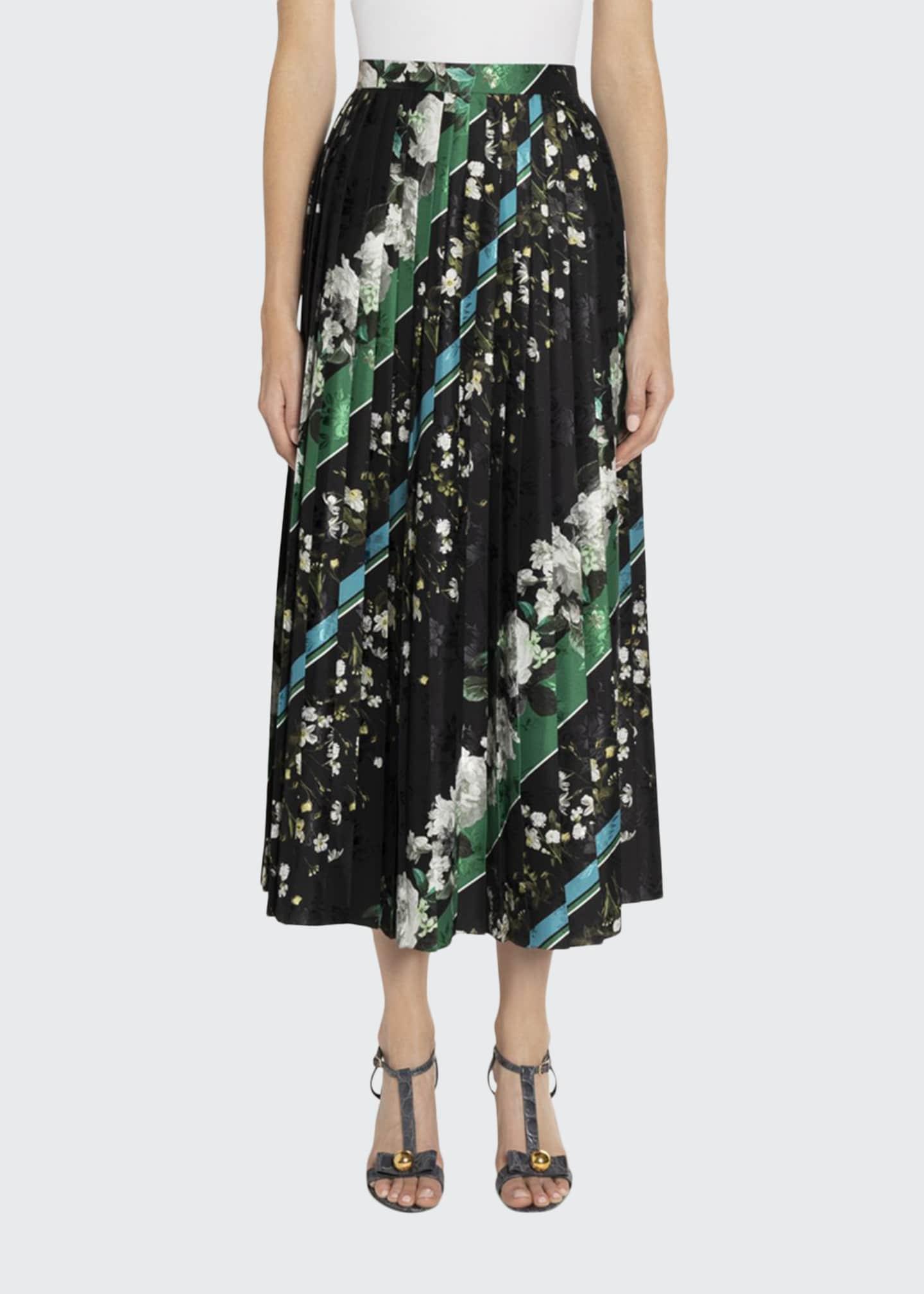 Erdem Nolana Floral & Striped Pleated Maxi Skirt