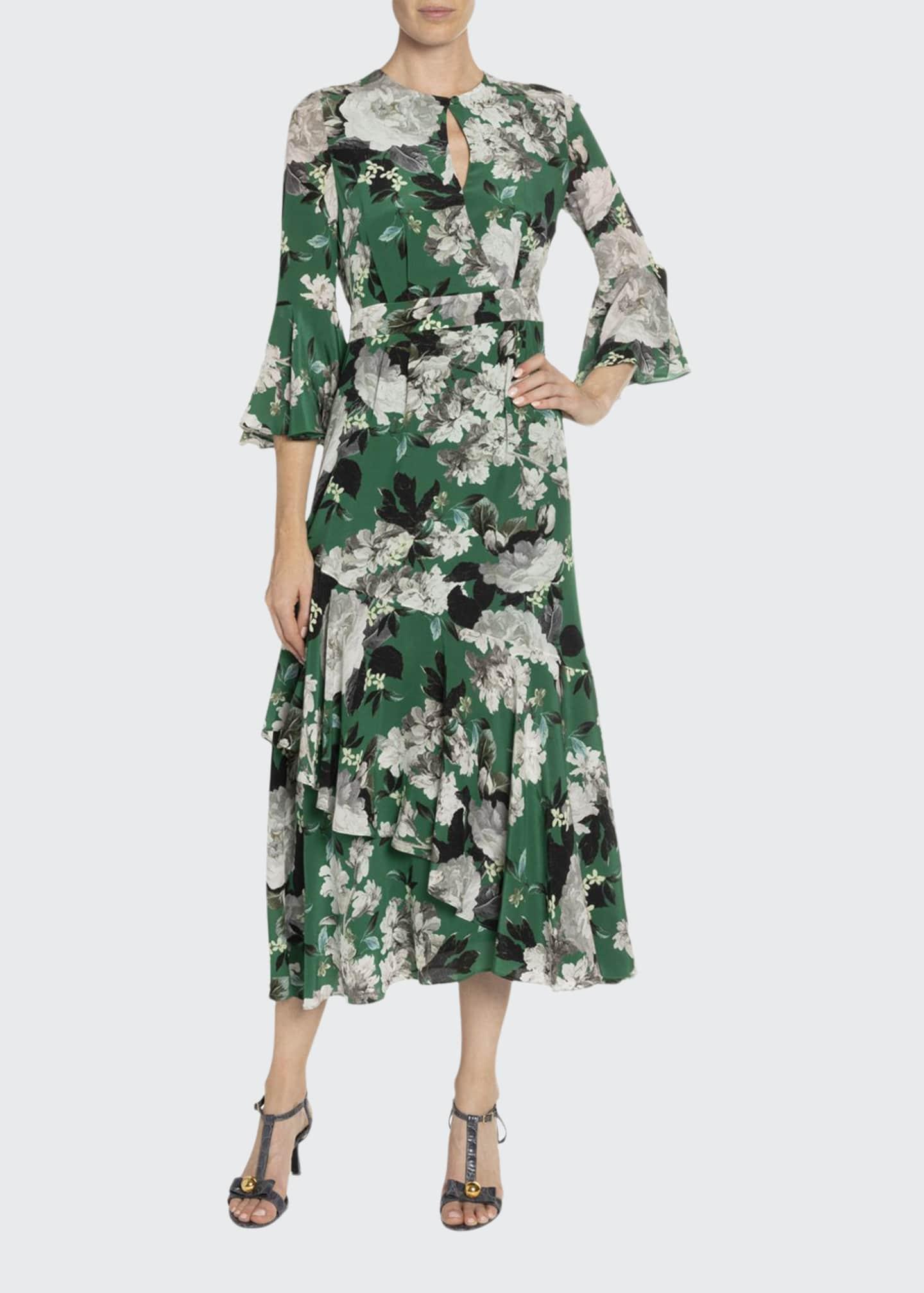 Erdem Florence Wallpaper-Print Silk Ruffled Dress