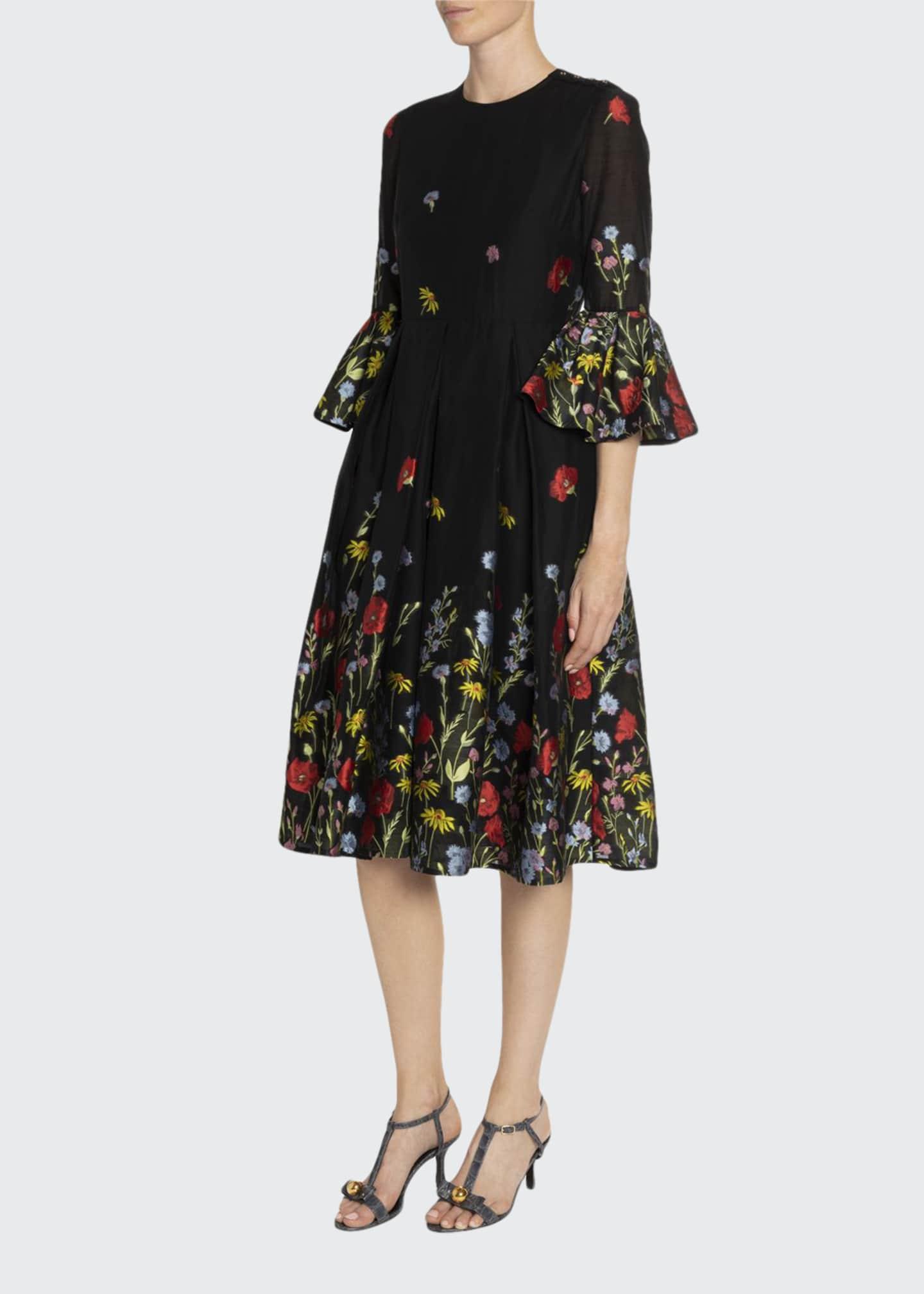 Erdem Irvine Floral Fil Coupe Tulip-Sleeve Dress
