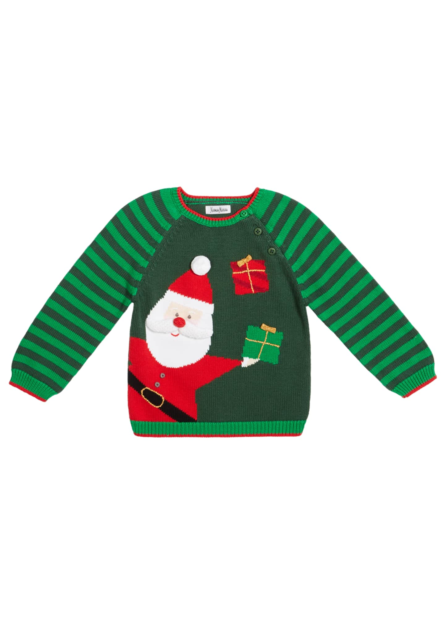 Image 1 of 1: Boy's Santa Holiday Intarsia Sweater, Size 12M-7