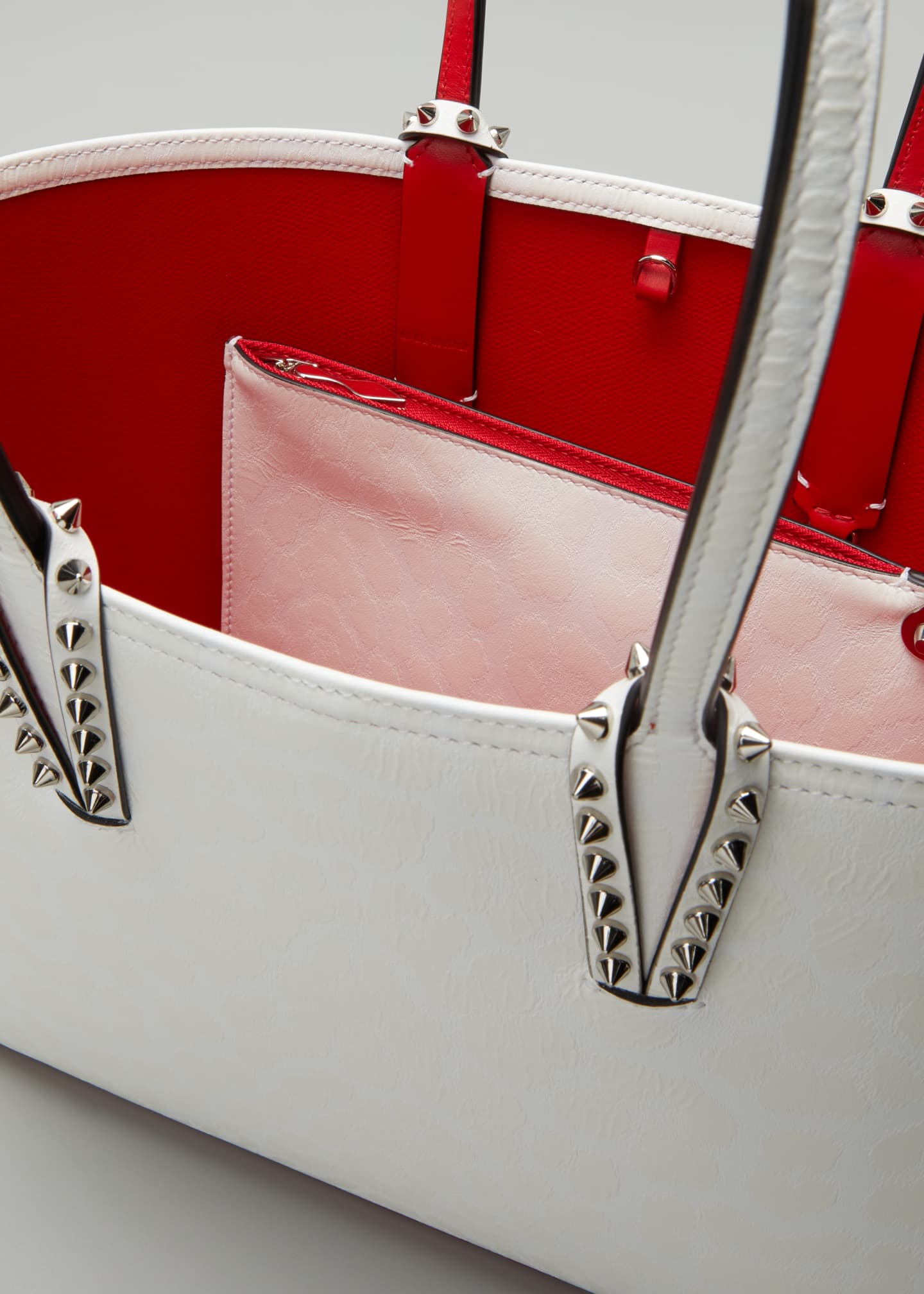 Image 4 of 5: Cabata Small Calf Leopard 50s Red Sole Tote Bag