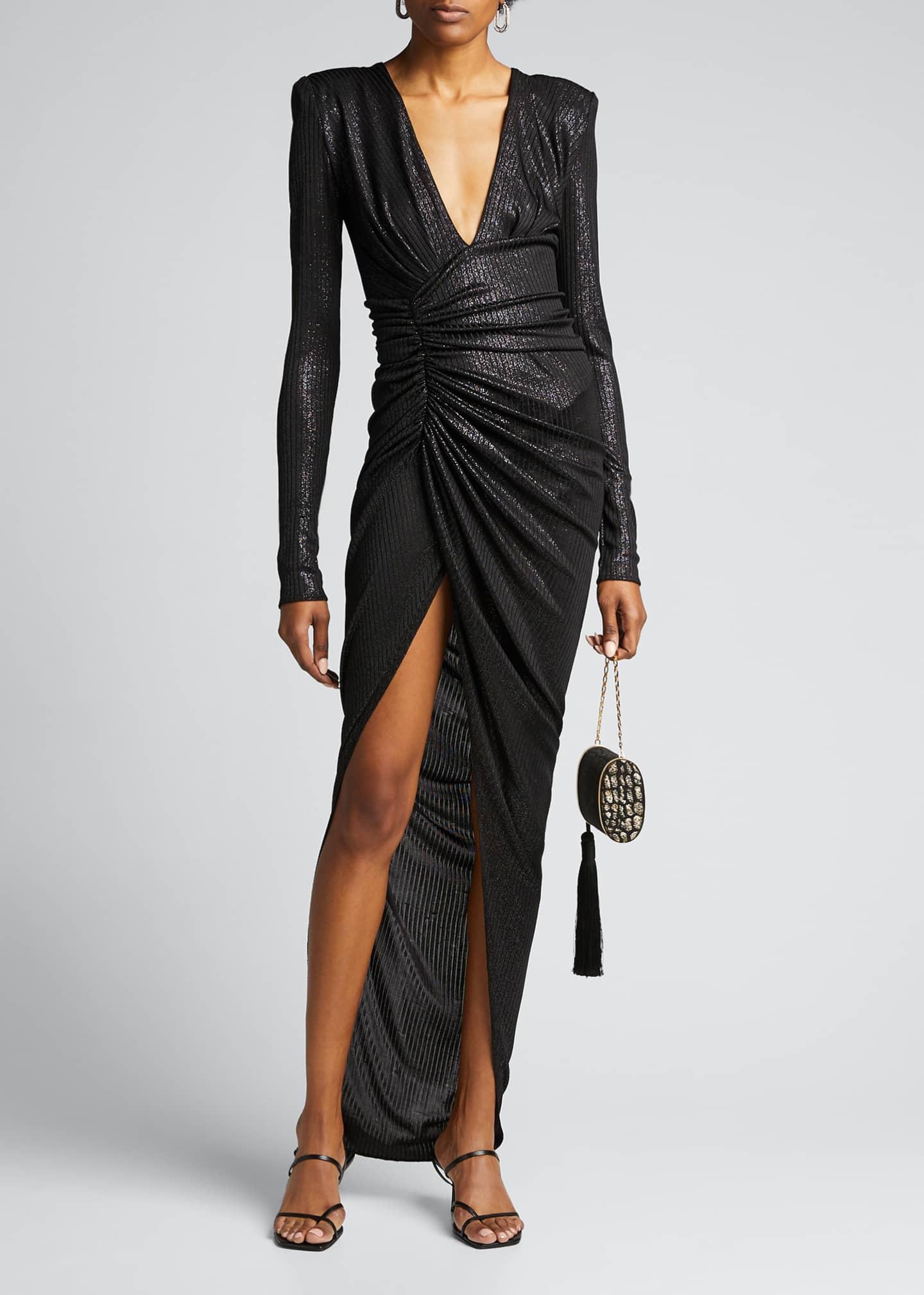 Alexandre Vauthier Lame Deep V-Neck Ruched Dress