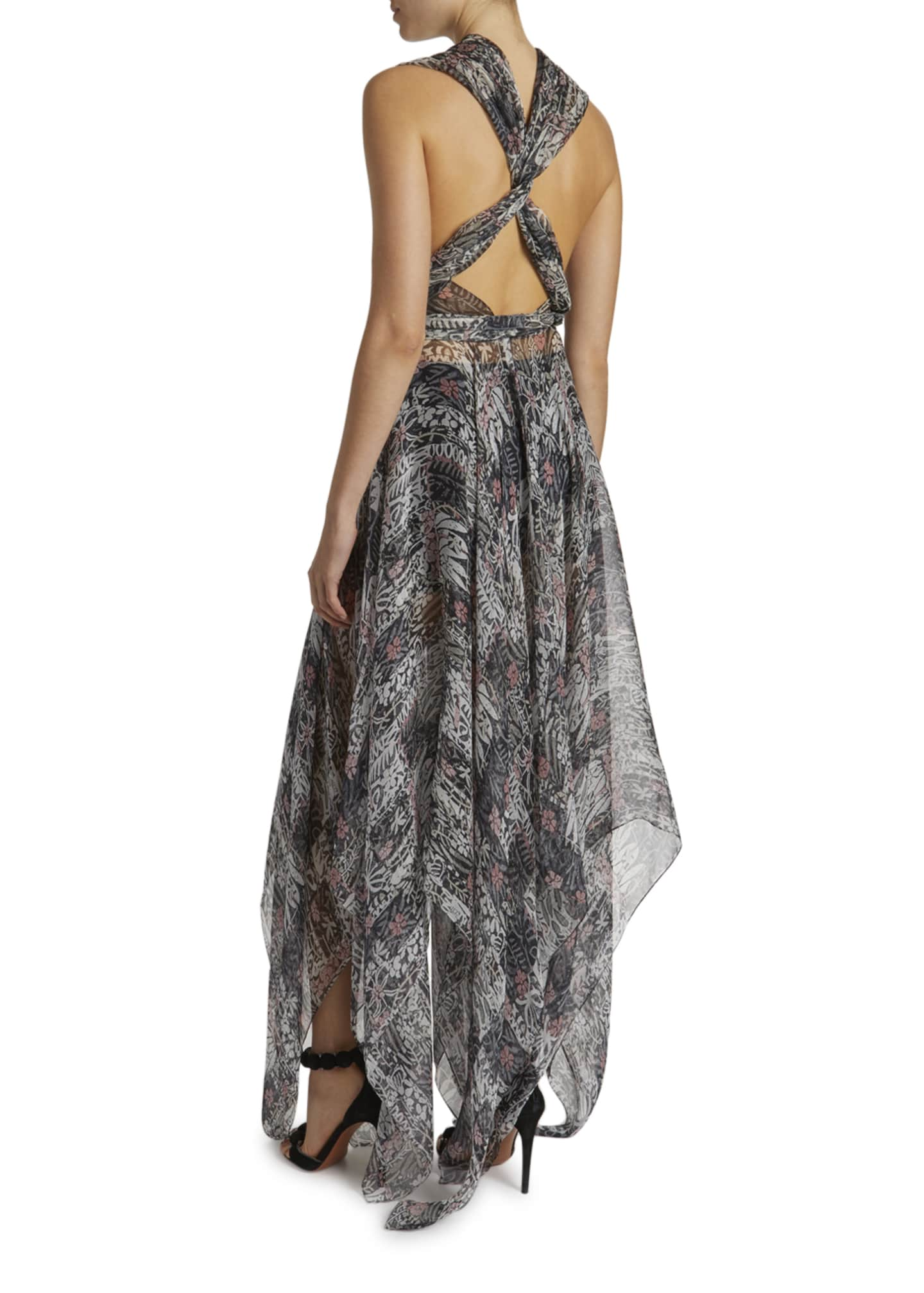 Image 2 of 2: Floral Print Gauzy Halter-Neck Gown