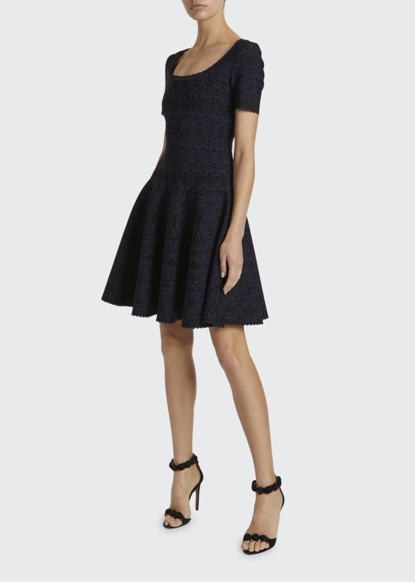 Image 1 of 2: Campanelle Scalloped Jersey Scoop-Neck Dress