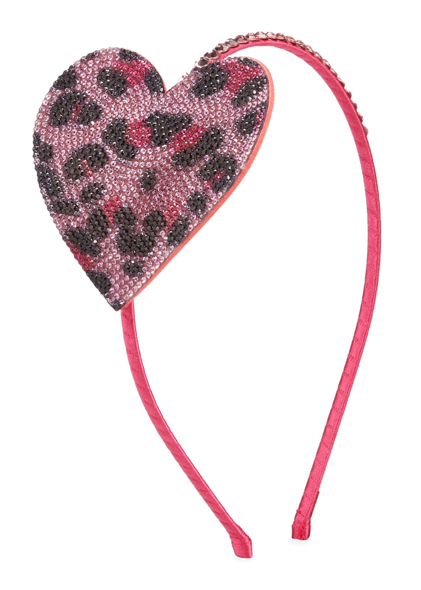 Bari Lynn Girl's Crystal Leopard Heart Headband