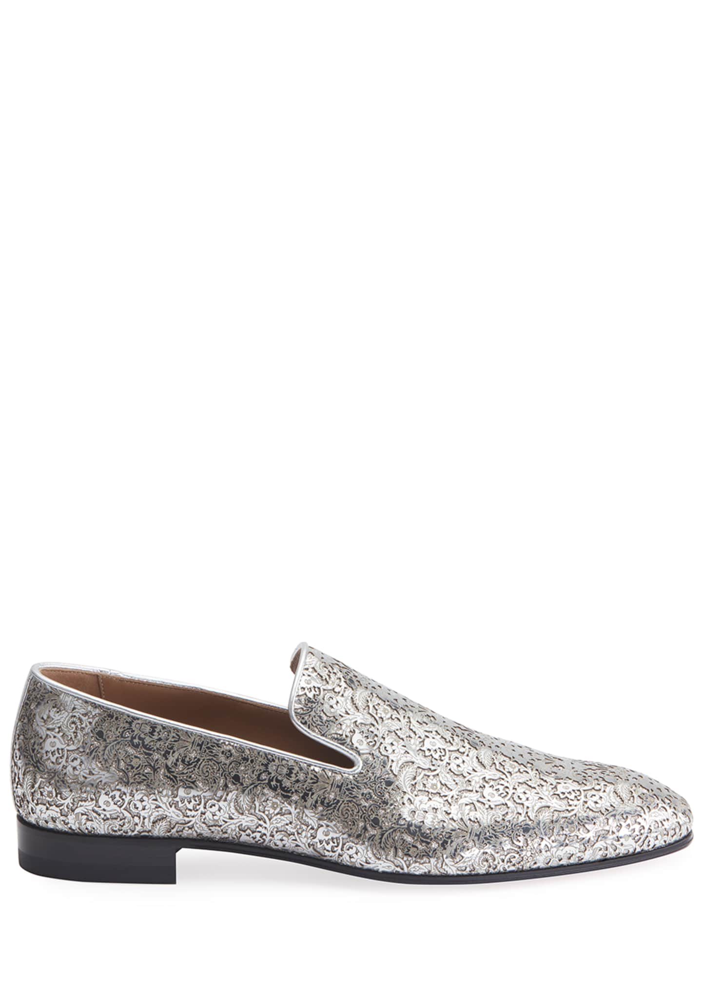 Image 2 of 2: Men's Dandelion Laser-Cut Metallic Leather Loafers