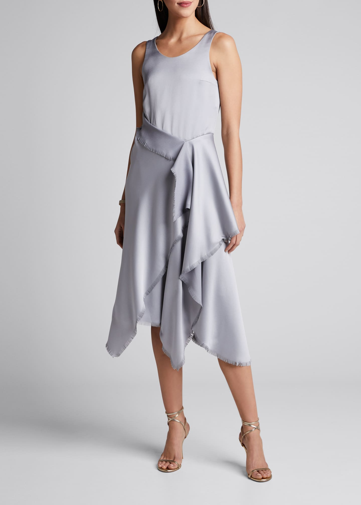 Cedric Charlier Satin Asymmetric Dress