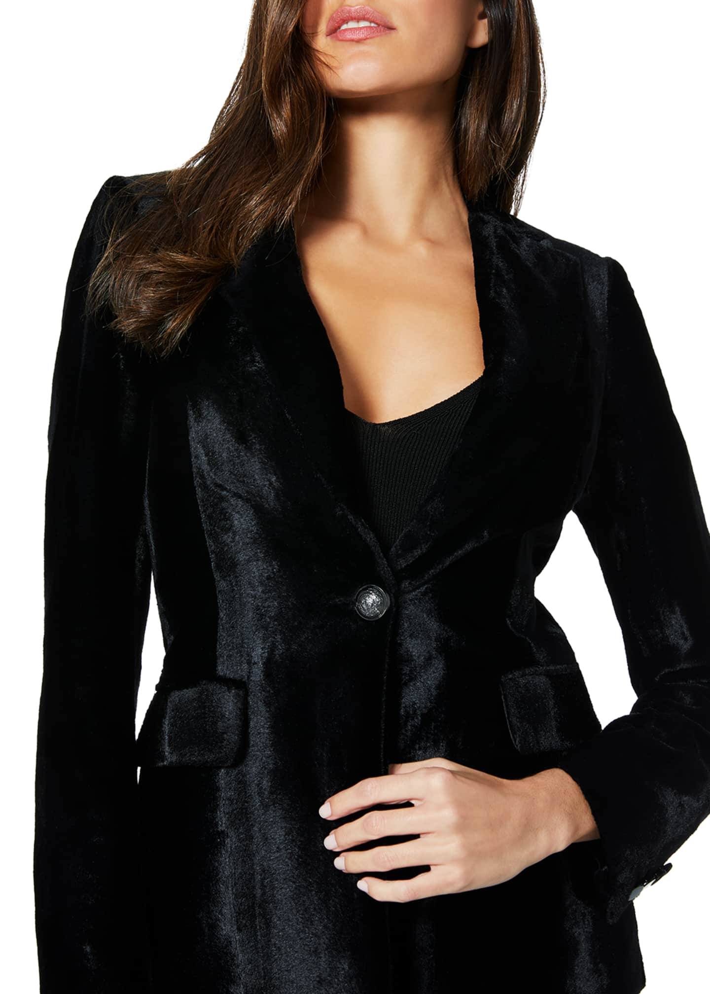 Image 2 of 3: Eli Velvet Single-Button Jacket