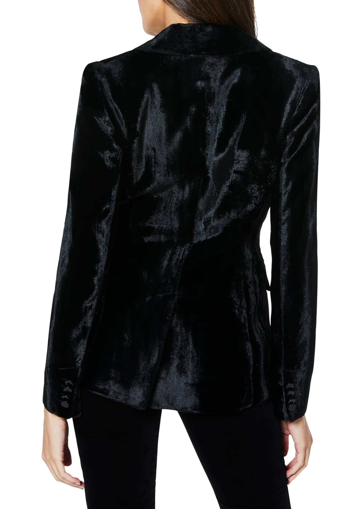 Image 3 of 3: Eli Velvet Single-Button Jacket