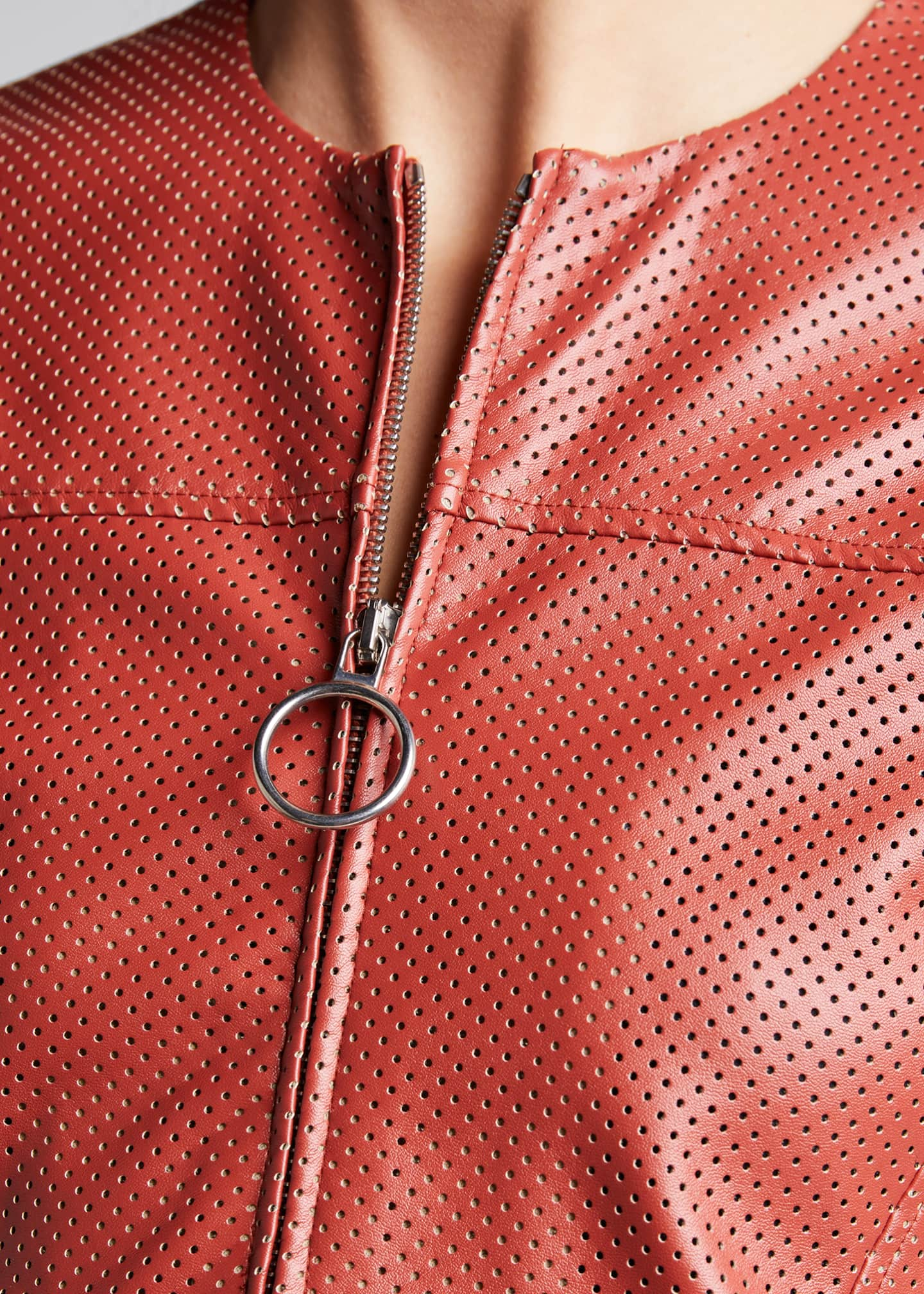 Image 4 of 4: Perforated Faux-Leather Zip-Front Top
