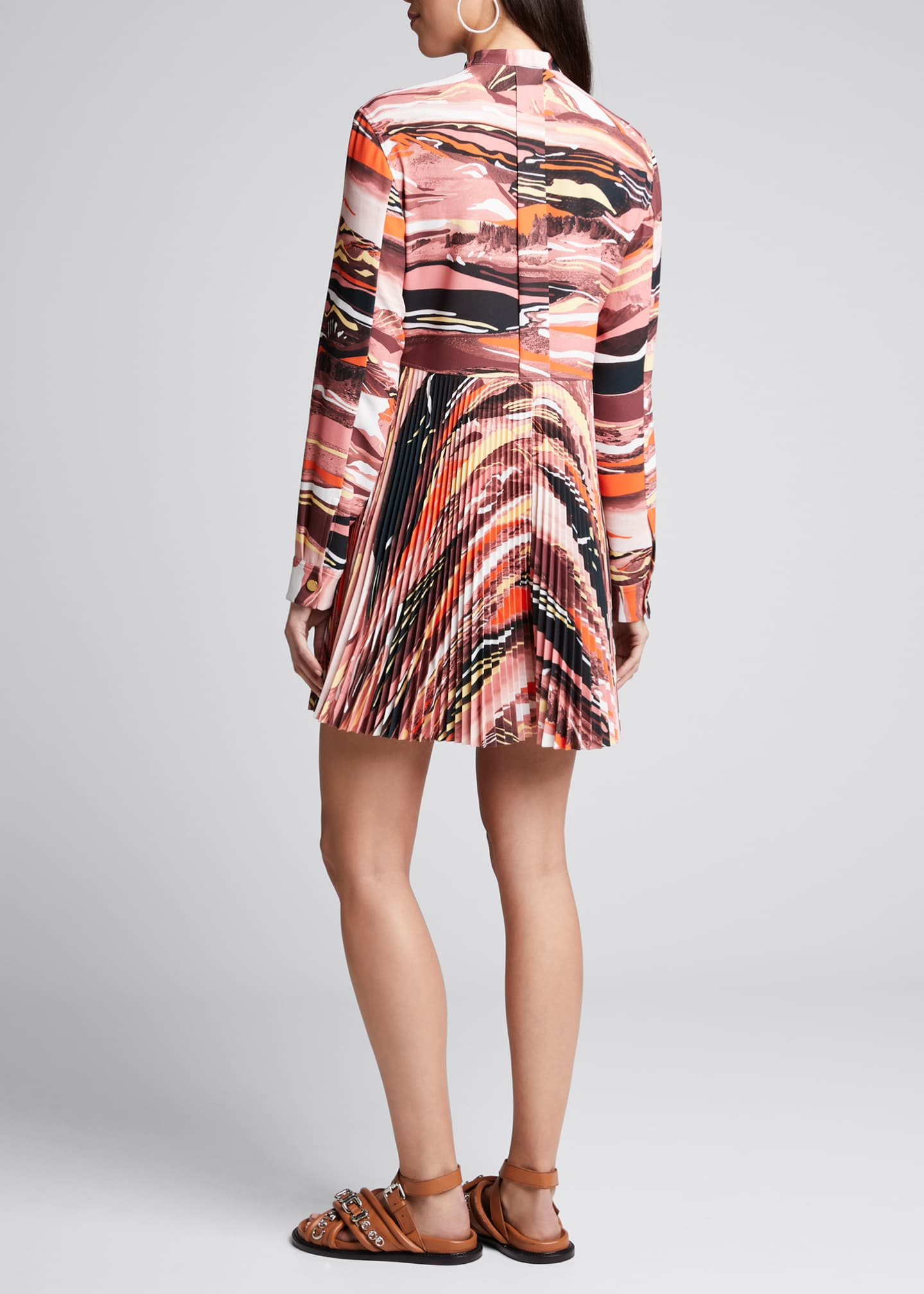 Image 2 of 4: Abstract-Print Pleated Shirtdress