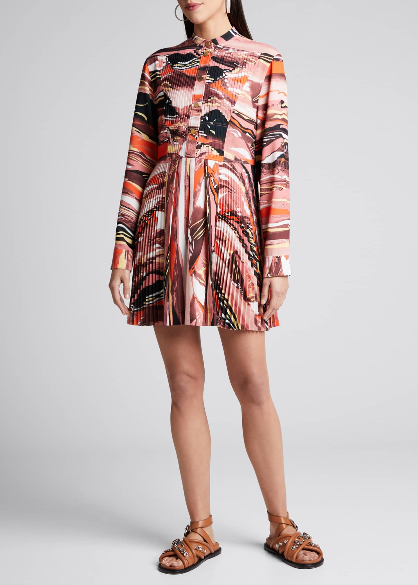 Image 3 of 4: Abstract-Print Pleated Shirtdress