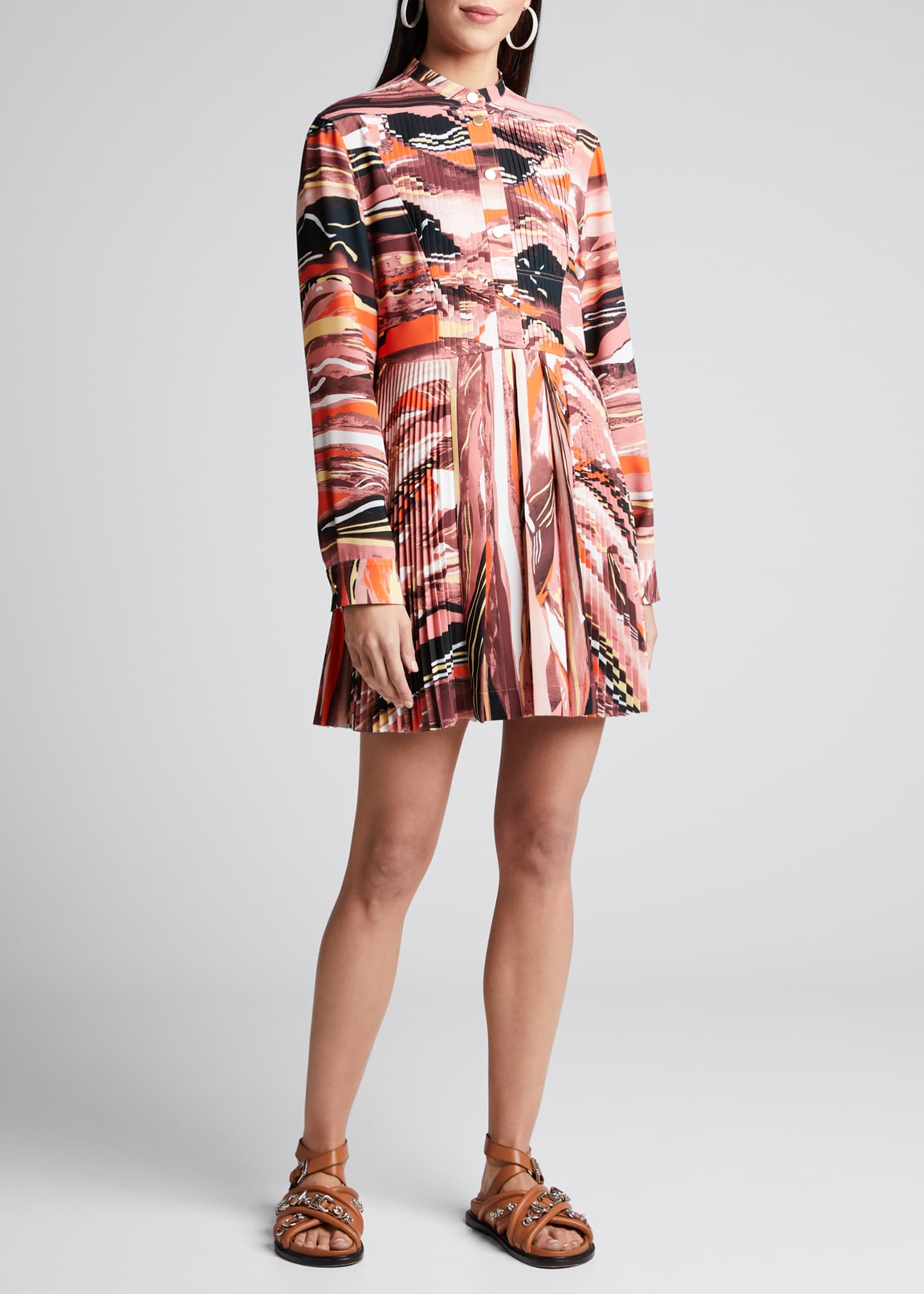 Image 1 of 4: Abstract-Print Pleated Shirtdress